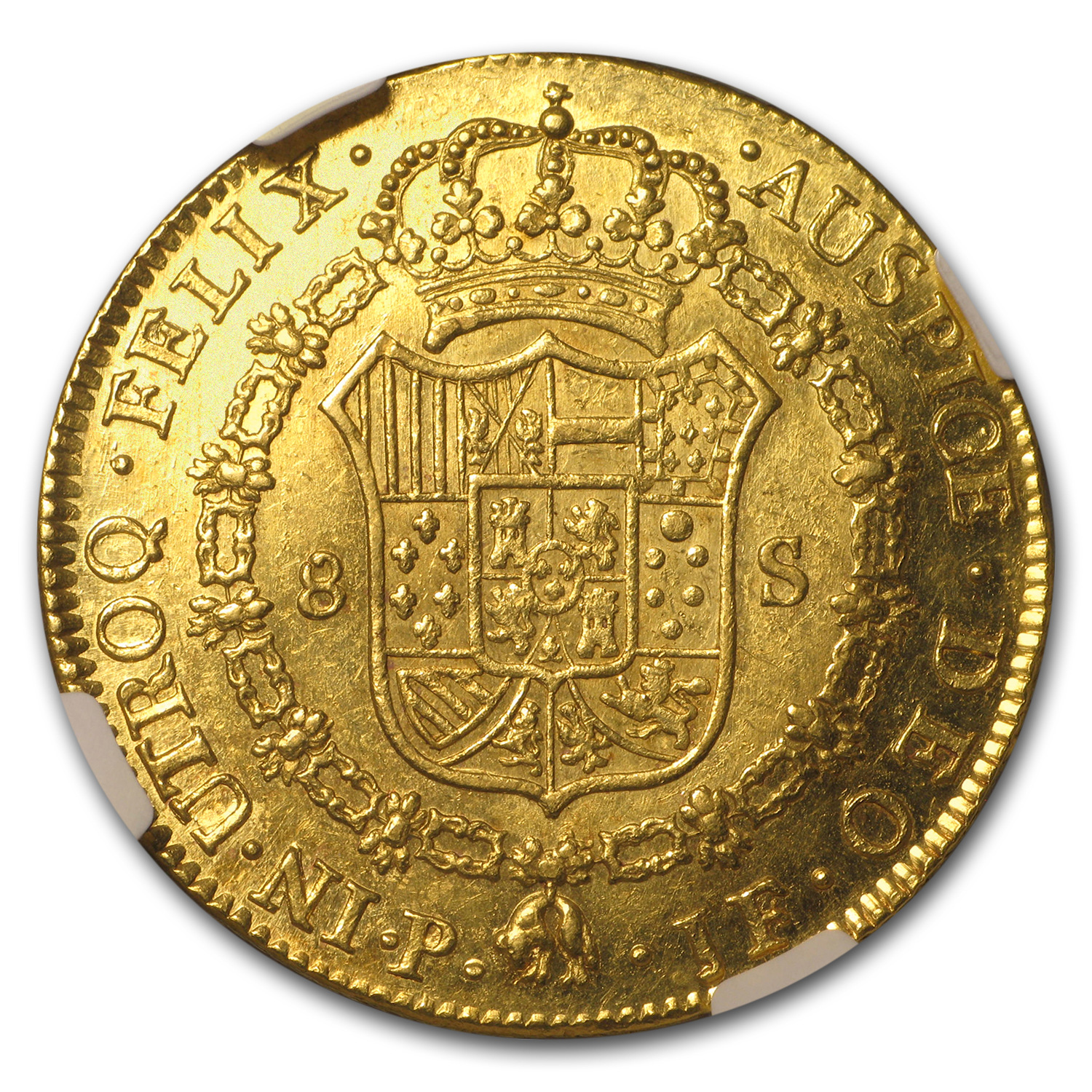 1795-P JF Colombia Gold 8 Escudos Charles IV MS-61 NGC