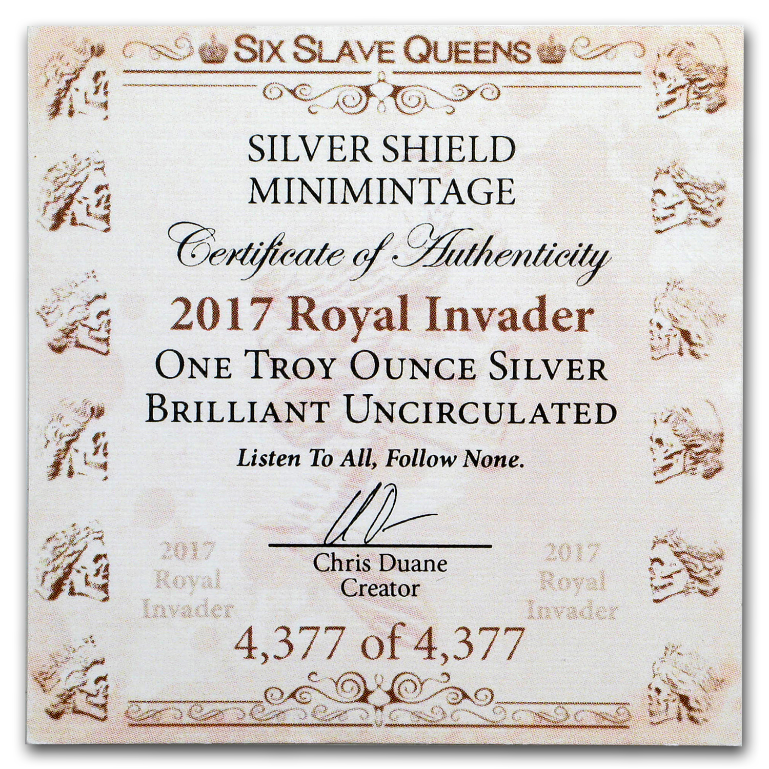 2017 1 oz Silver Shield Round - MiniMintage (Royal Invader)