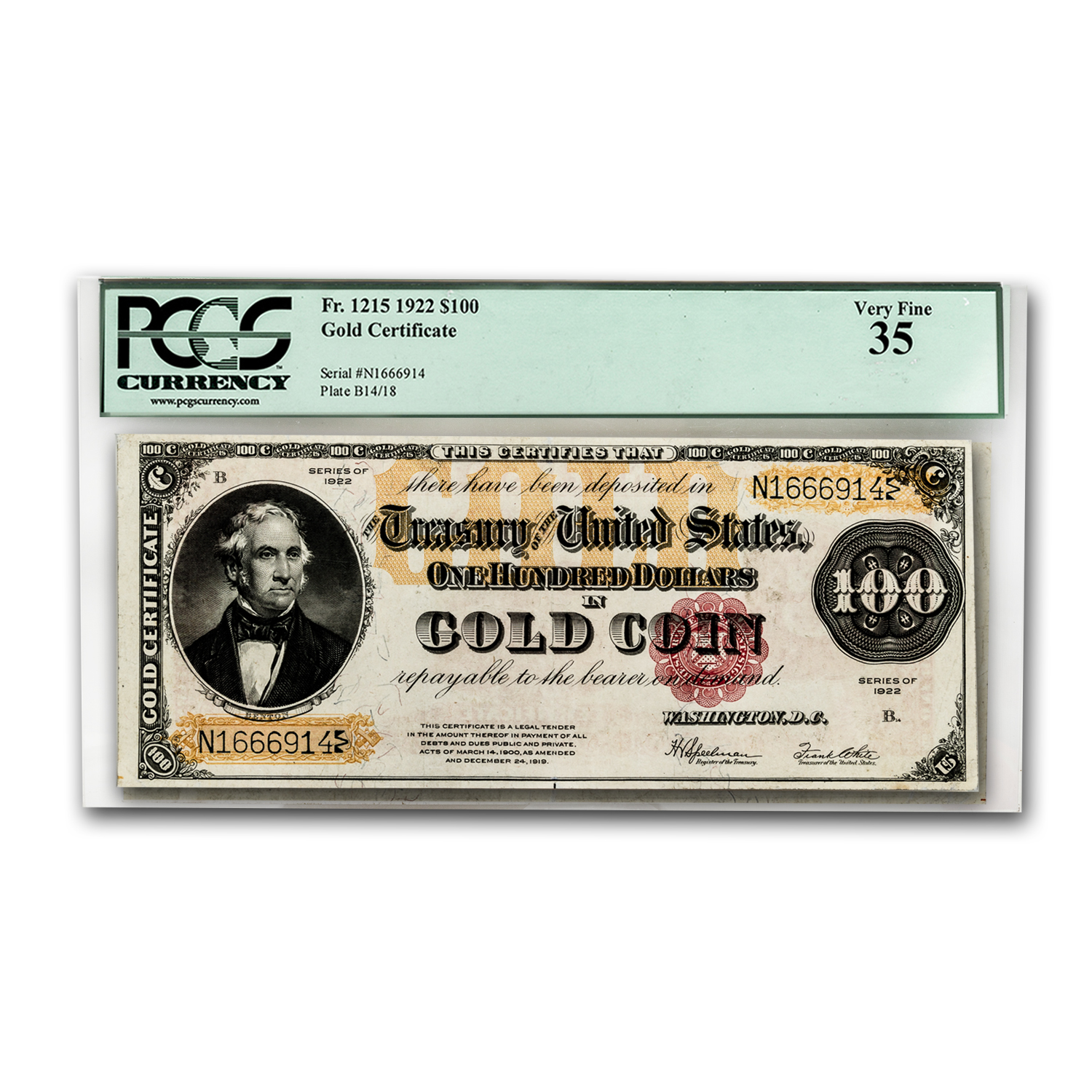 1922 $100 Gold Certificate VF-35 PCGS