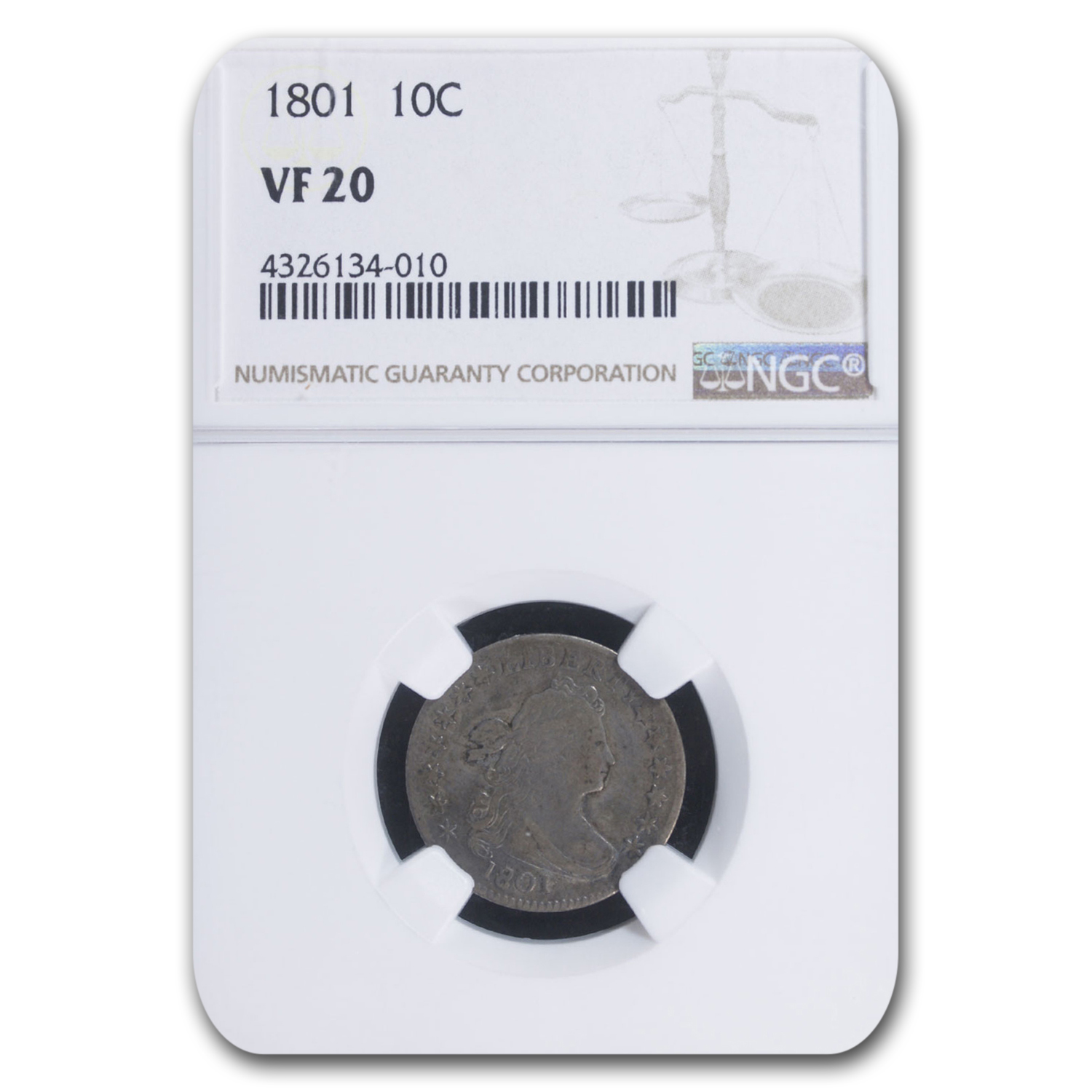 1801 Draped Bust Dime VF-20 NGC