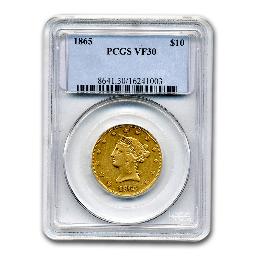 1865 $10 Liberty Gold Eagle VF-30 PCGS