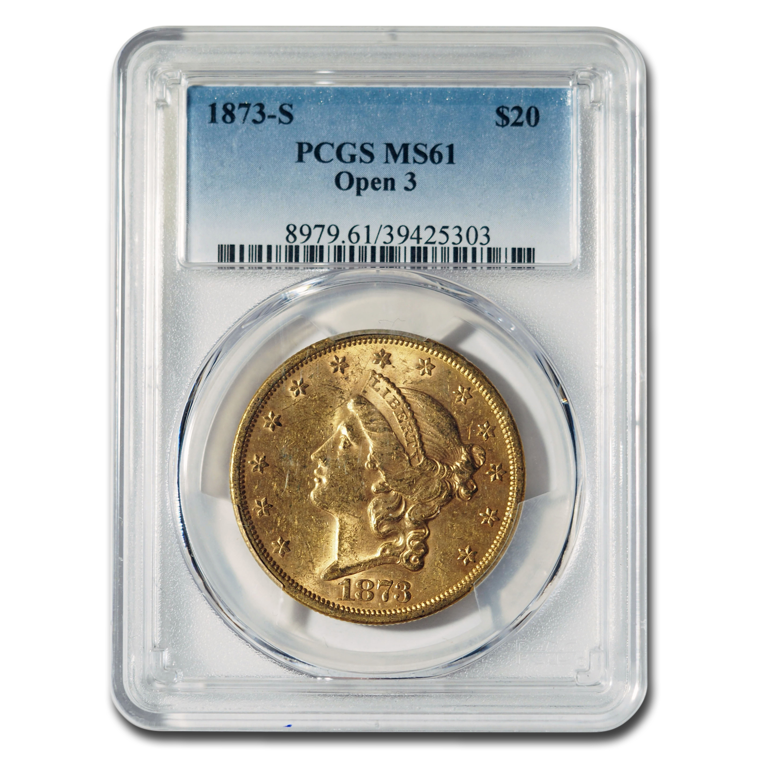 1873-S $20 Liberty Gold Double Eagle Open 3 MS-61 PCGS
