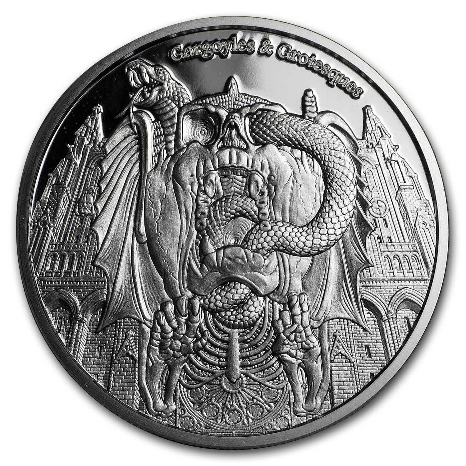 2017 Chad 1 oz Proof Silver Gargoyles and Grotesques (Decay)