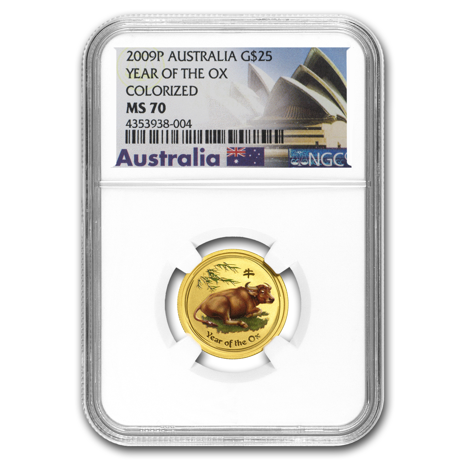 2009 Australia 1/4 oz Gold Lunar Ox MS-70 NGC (SII, Colorized)