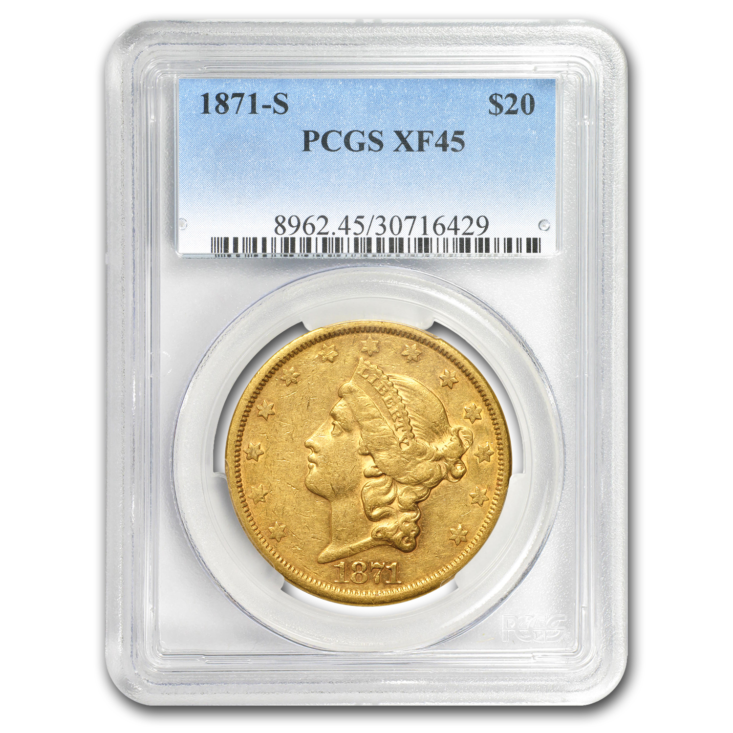 1871-S $20 Liberty Gold Double Eagle XF-45 PCGS