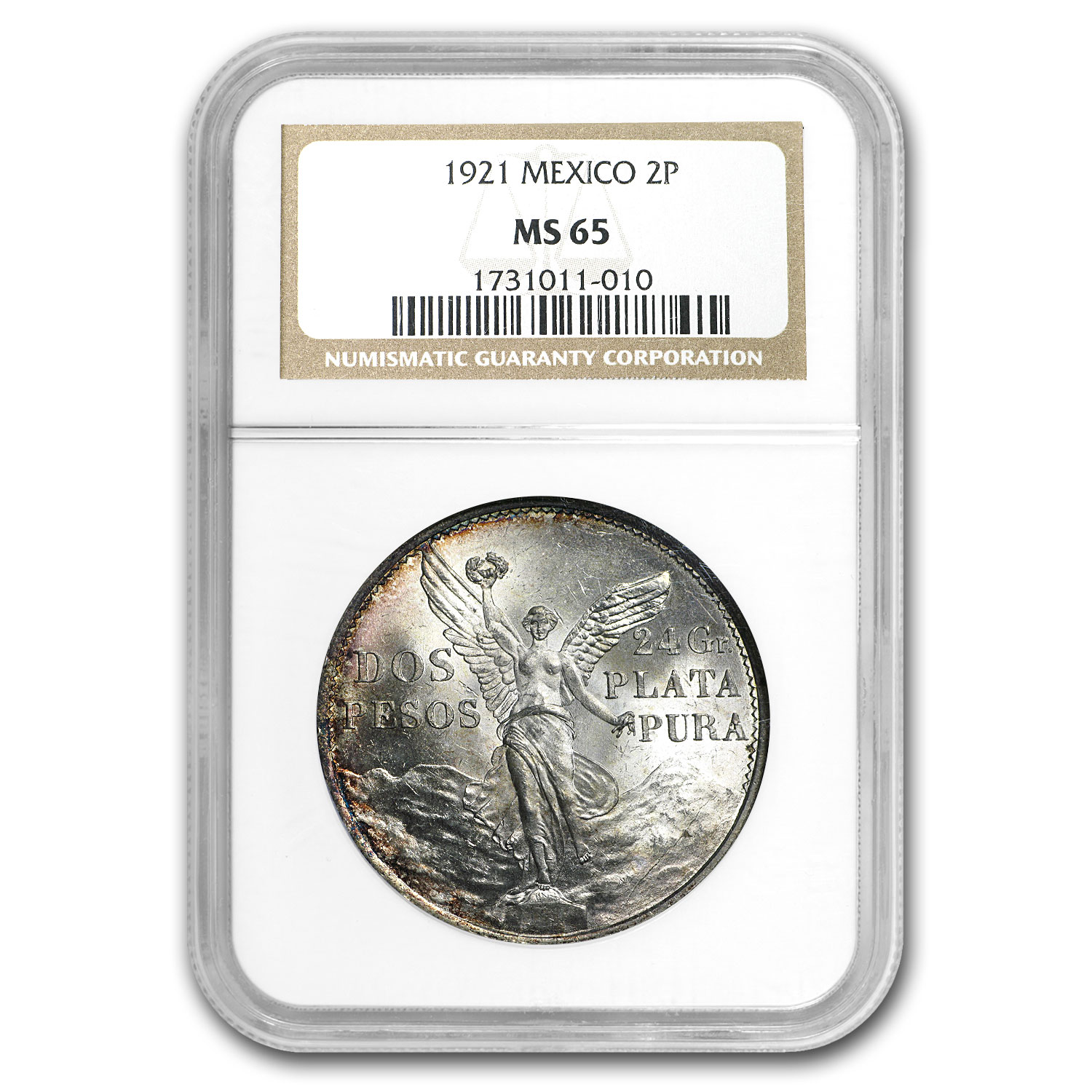 1921 Mexico Silver 2 Pesos Winged Victory MS-65 NGC