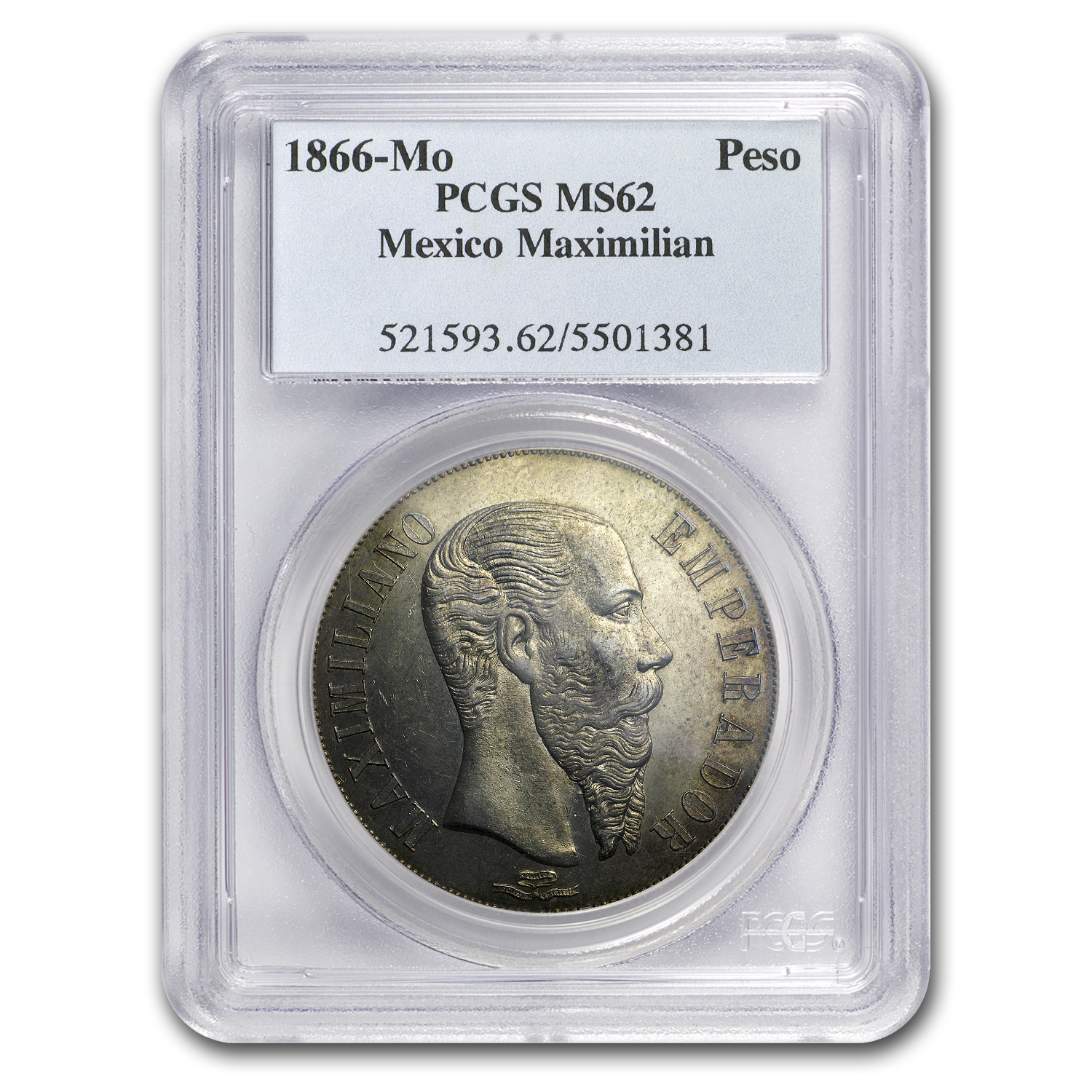 1866 Mo Mexico Peso MS-62 PCGS (Maximilian, Empire)
