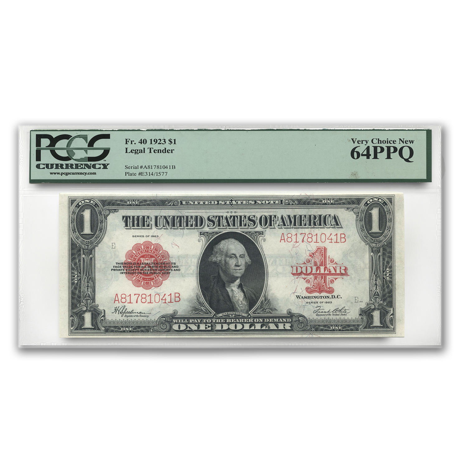 1923 $1.00 United States Note Red Seal Ch CU-64 PPQ PCGS