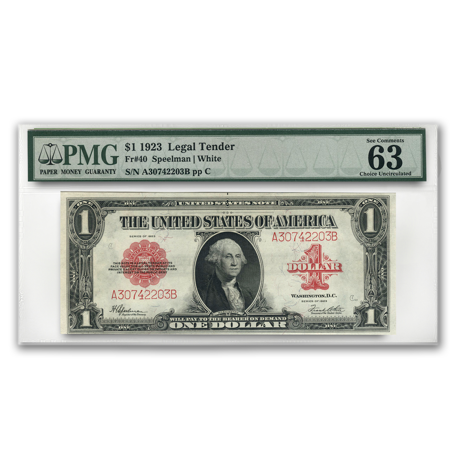 1923 $1.00 United States Note Red Seal Ch CU-63 EPQ PMG