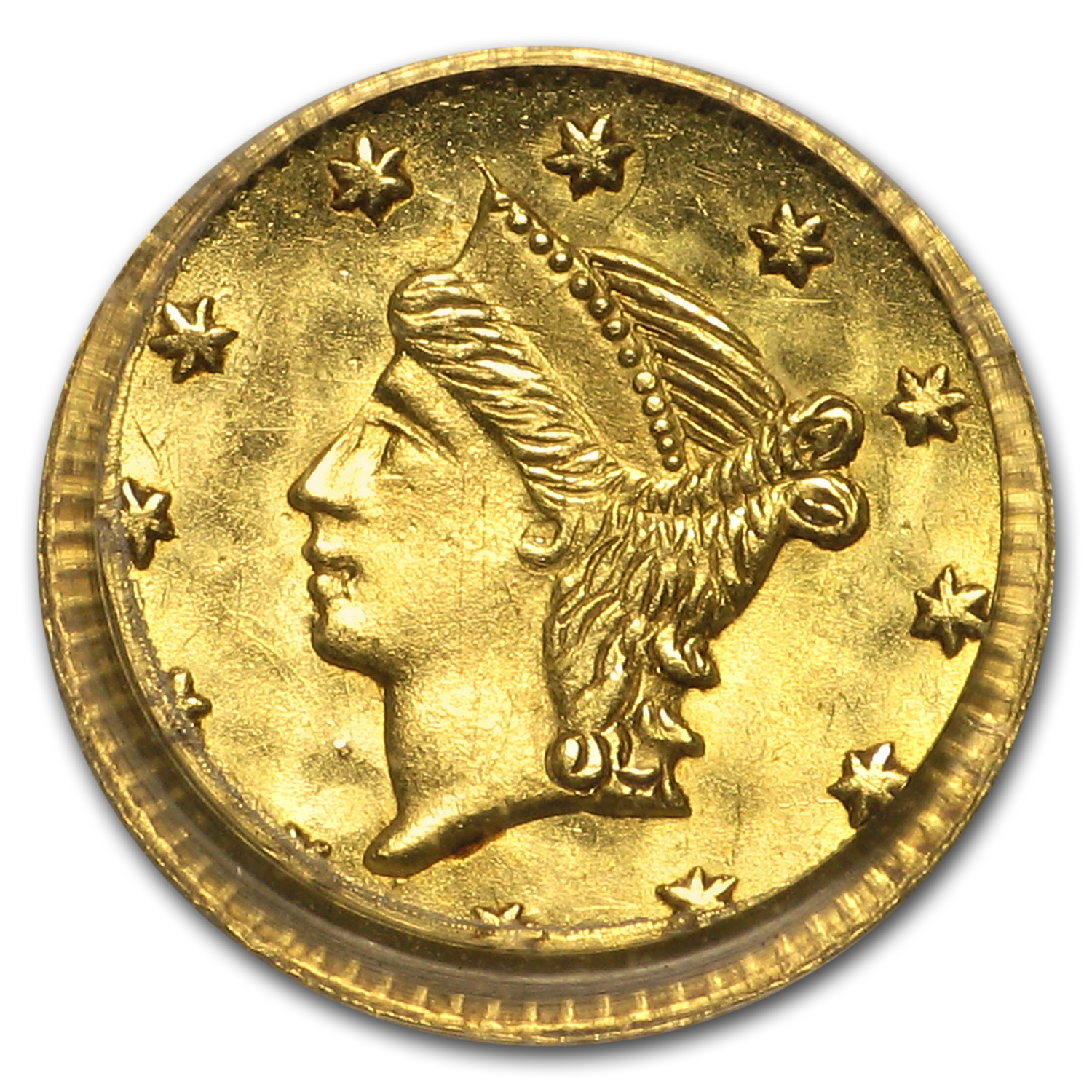 (1853) BG-222 Liberty Round 25 Cent Gold MS-63 PCGS