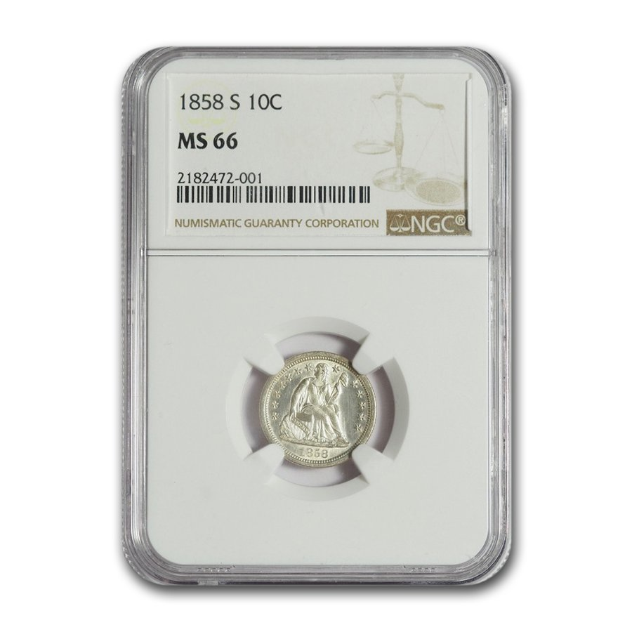 1858-S Liberty Seated Dime MS-66 NGC