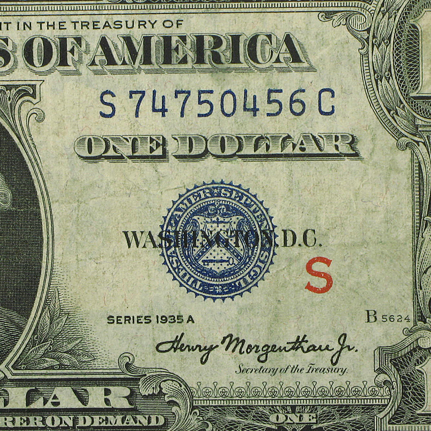 1935-A $1.00 (Very Good) - Fine - S (Experimental Note)