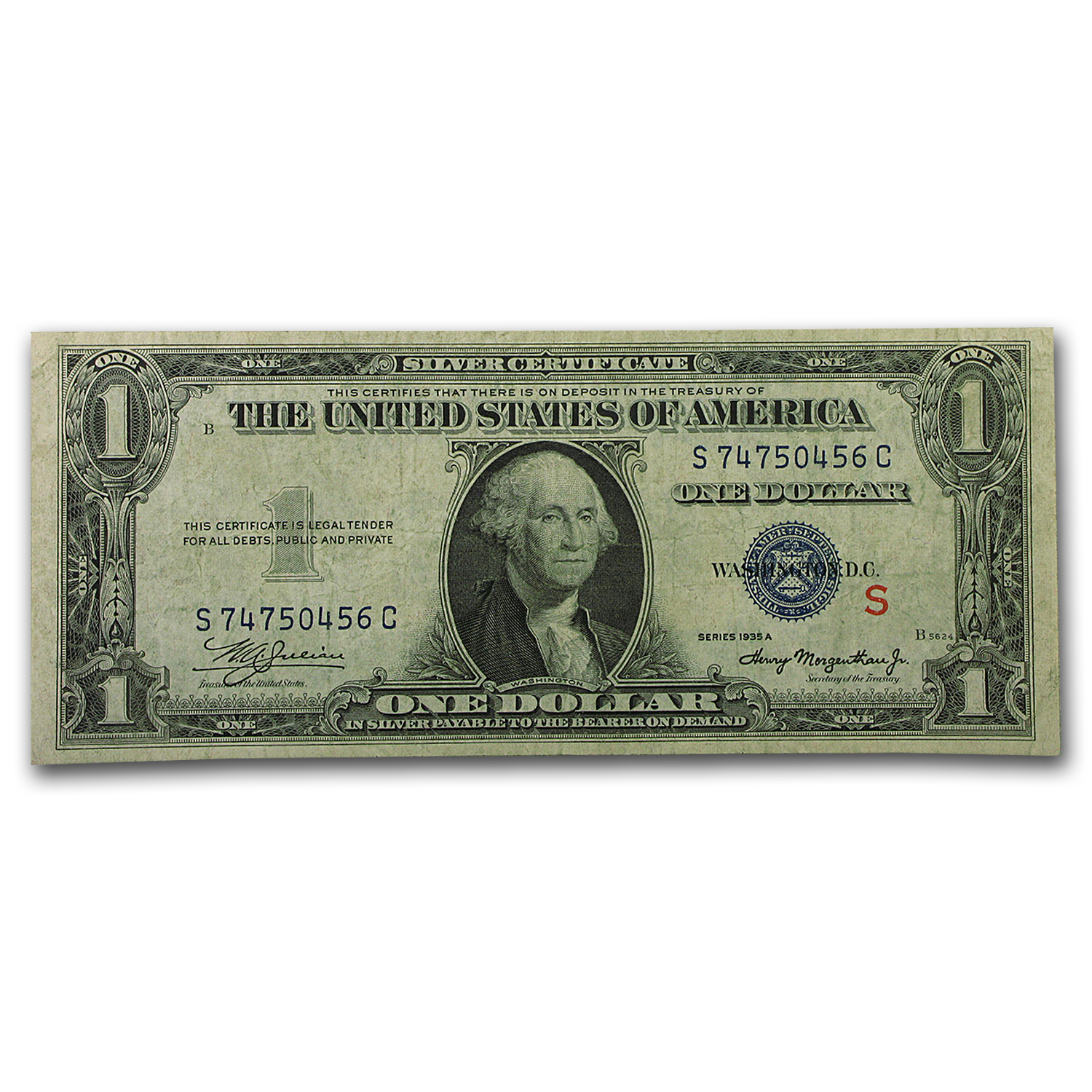 1935-A $1.00 Silver Certificate VF (S, Experimental Note)