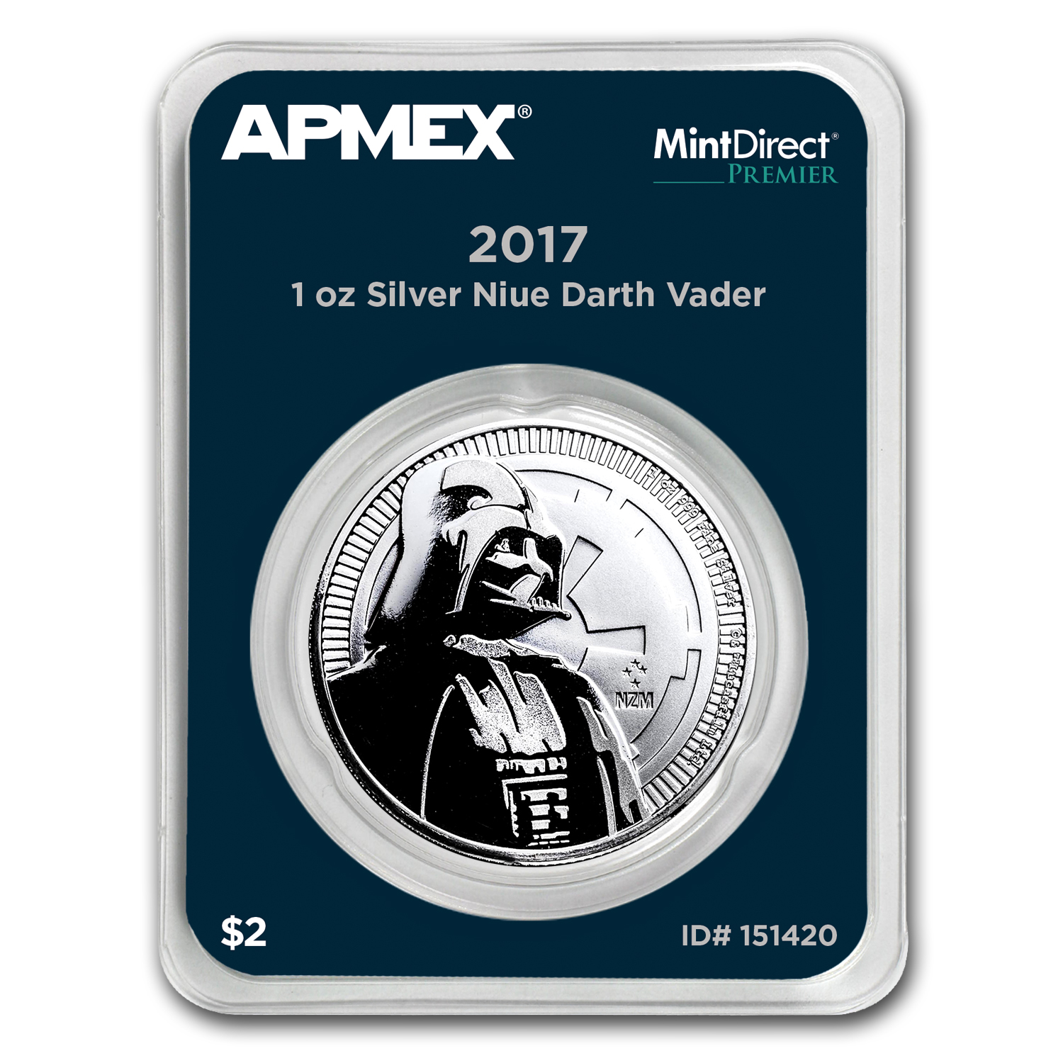 2017 Niue 1 oz Silver $2 Darth Vader (MintDirect® Premier Single)