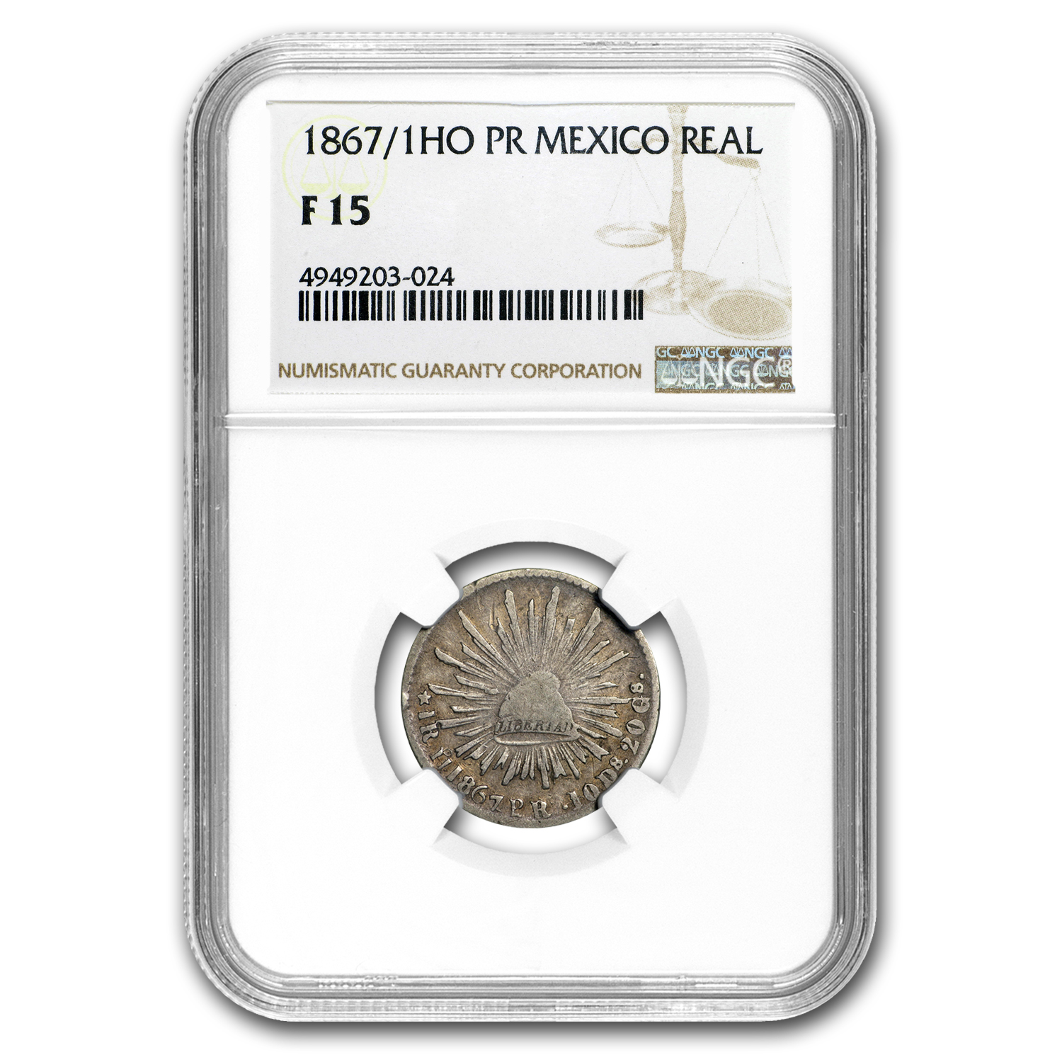 1867/1 Ho-PR Mexico Silver Real Cap & Rays F-15 NGC