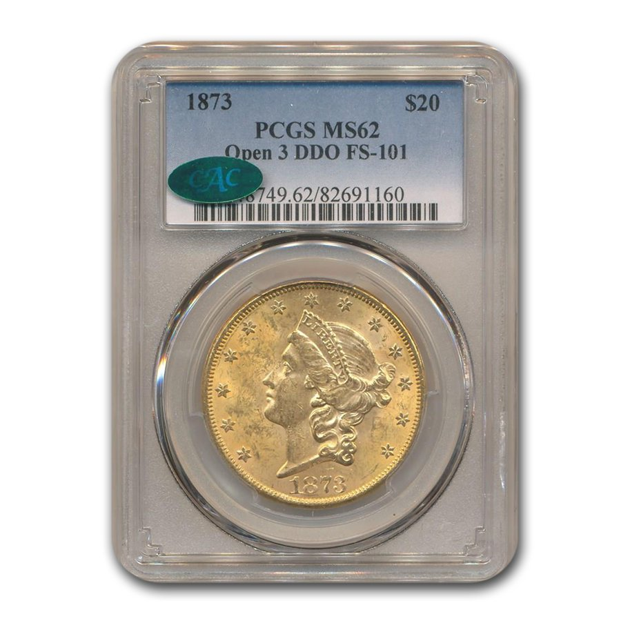 1873 $20 Liberty Gold Dbl Eagle MS-62 PCGS CAC (Open 3, DDO)