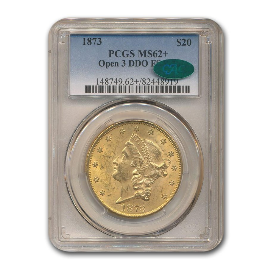 1873 $20 Liberty Gold Double Eagle MS-62+ PCGS (Open 3, DDO)