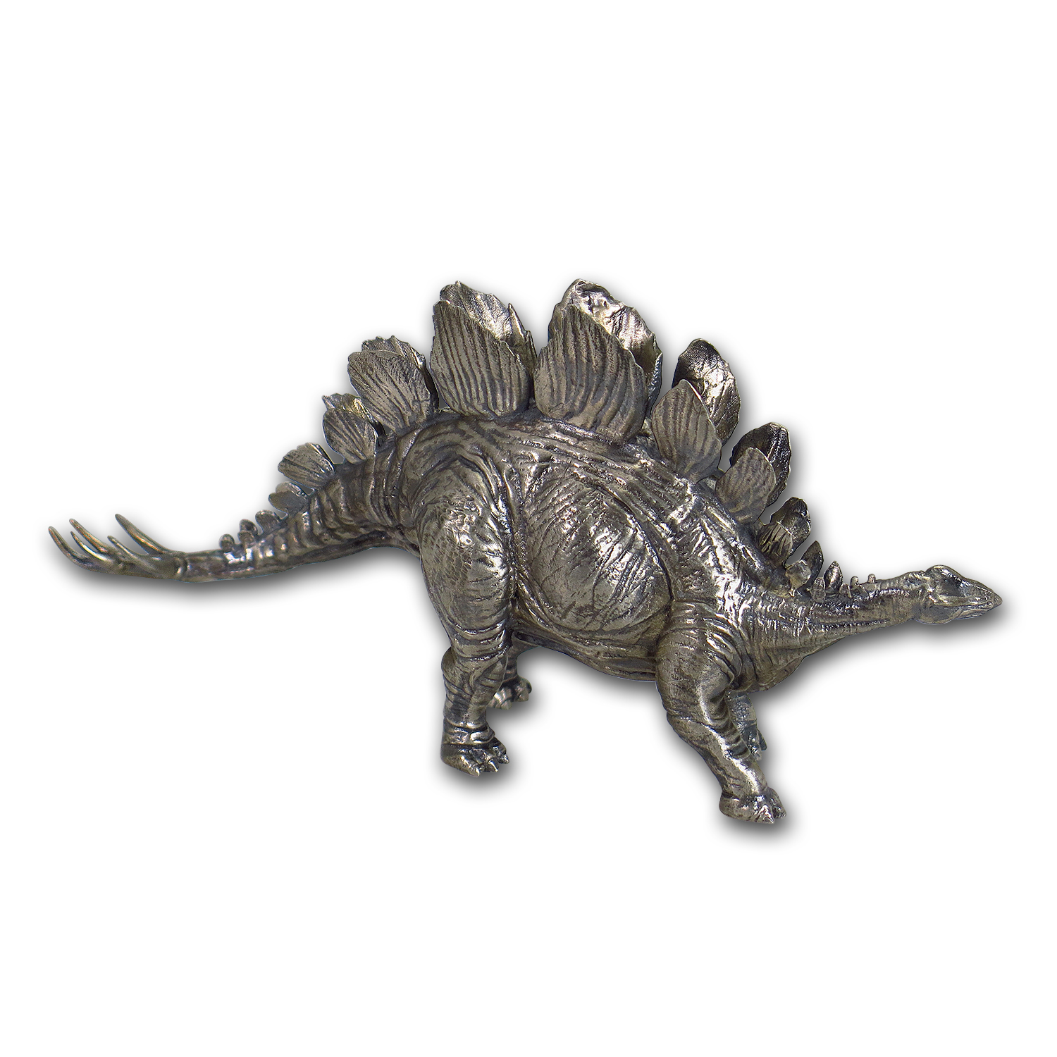 8 oz Silver Antique Statue - Stegosaurus