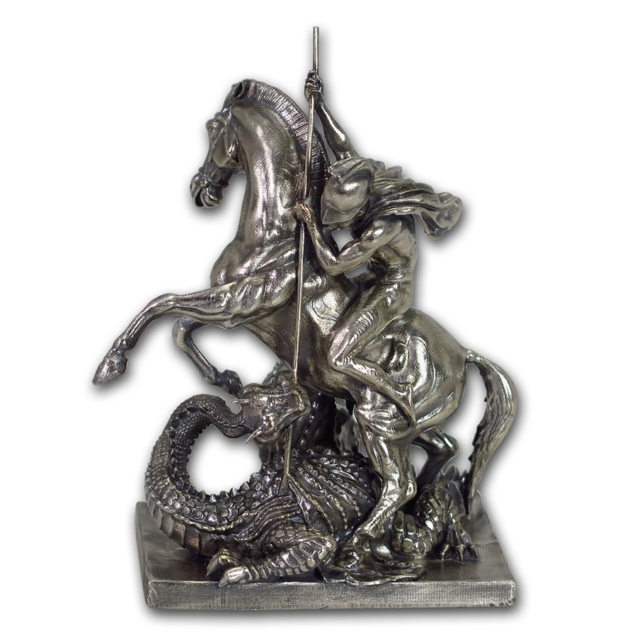 15 Oz Silver Antique Statue Saint George And The Dragon
