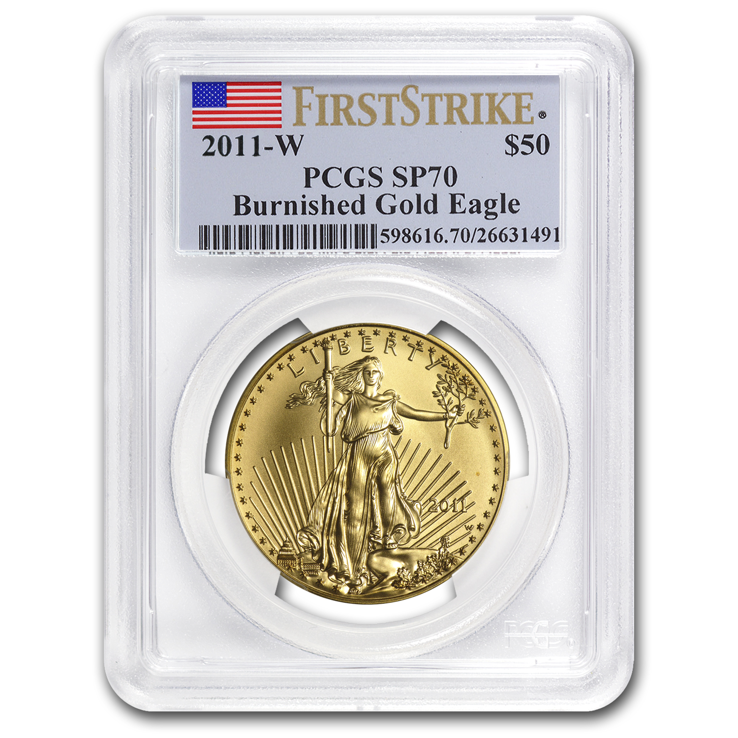 2011-W 1 oz Burnished Gold Eagle MS-70 PCGS (First Strike)