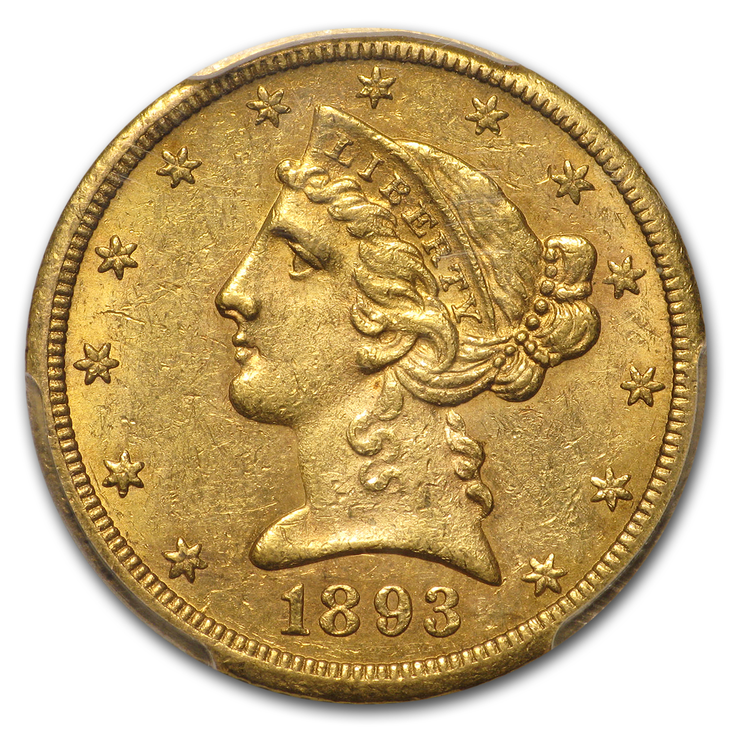 1893-CC $5 Liberty Gold Half Eagle MS-61 PCGS