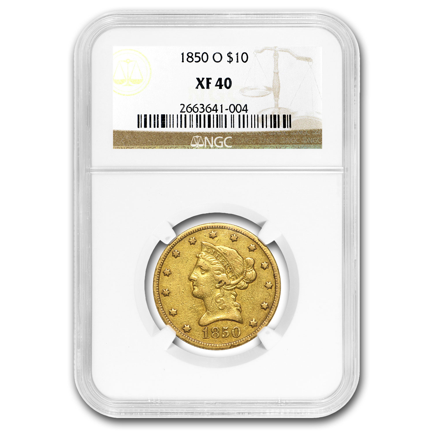 1850-O $10 Liberty Gold Eagle XF-40 NGC