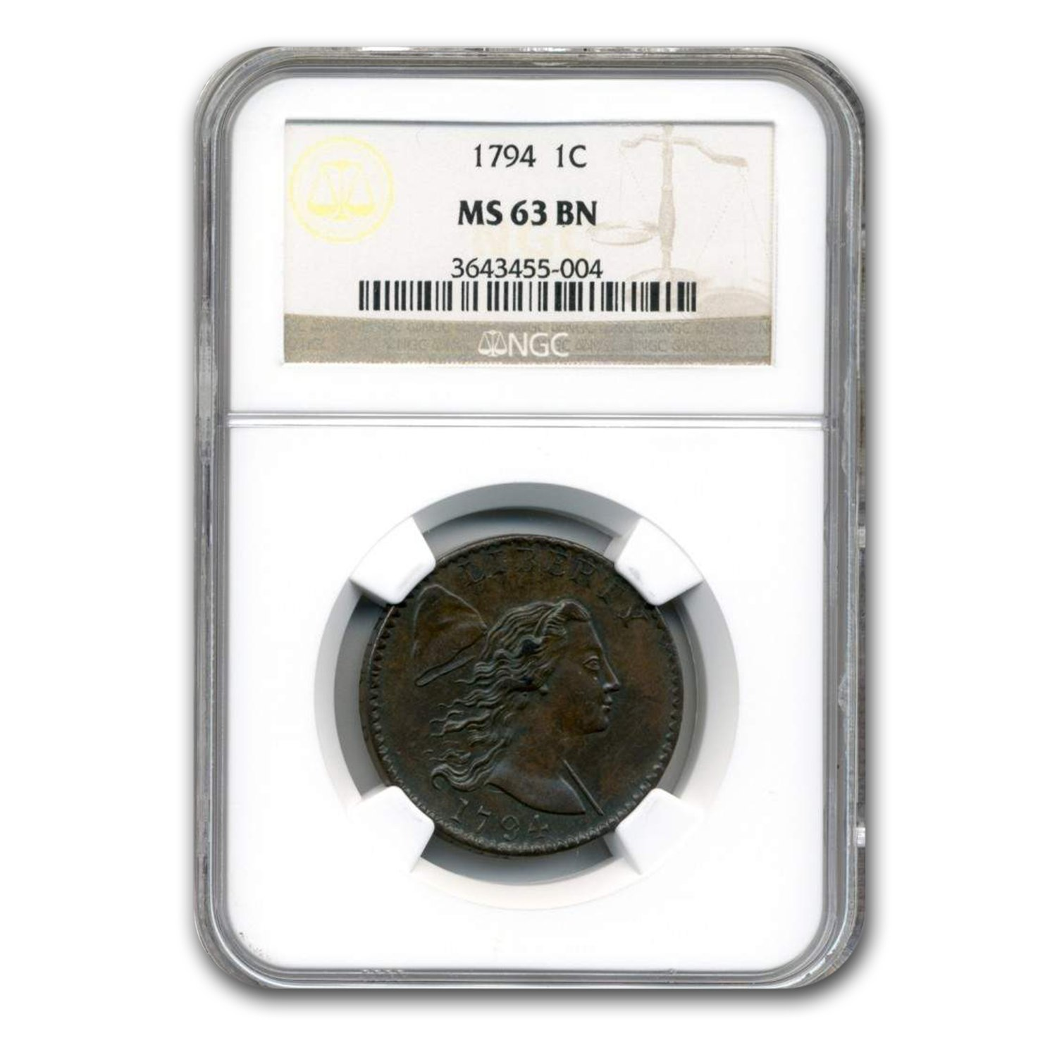 1794 Large Cent MS-63 NGC (Brown)