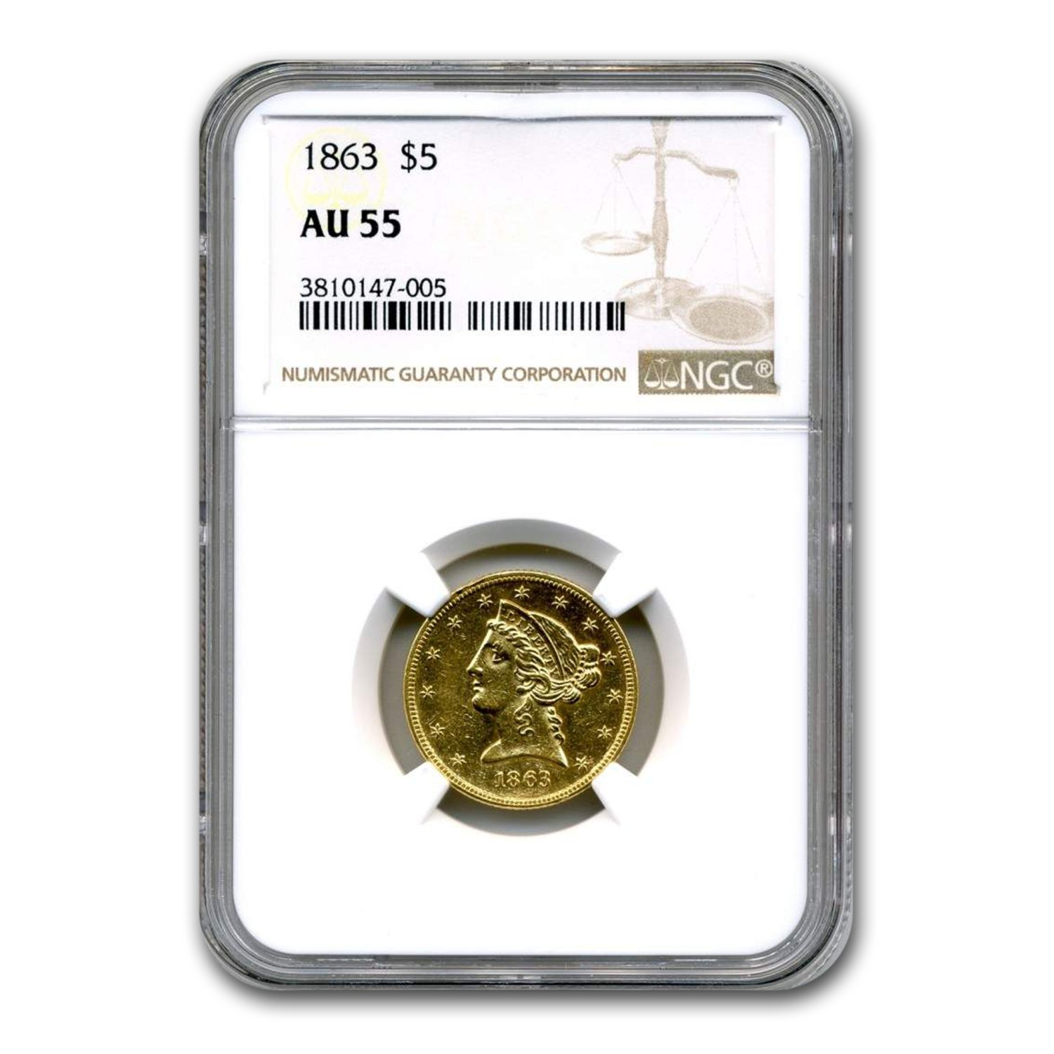 1863 $5 Liberty Gold Half Eagle AU-55 NGC