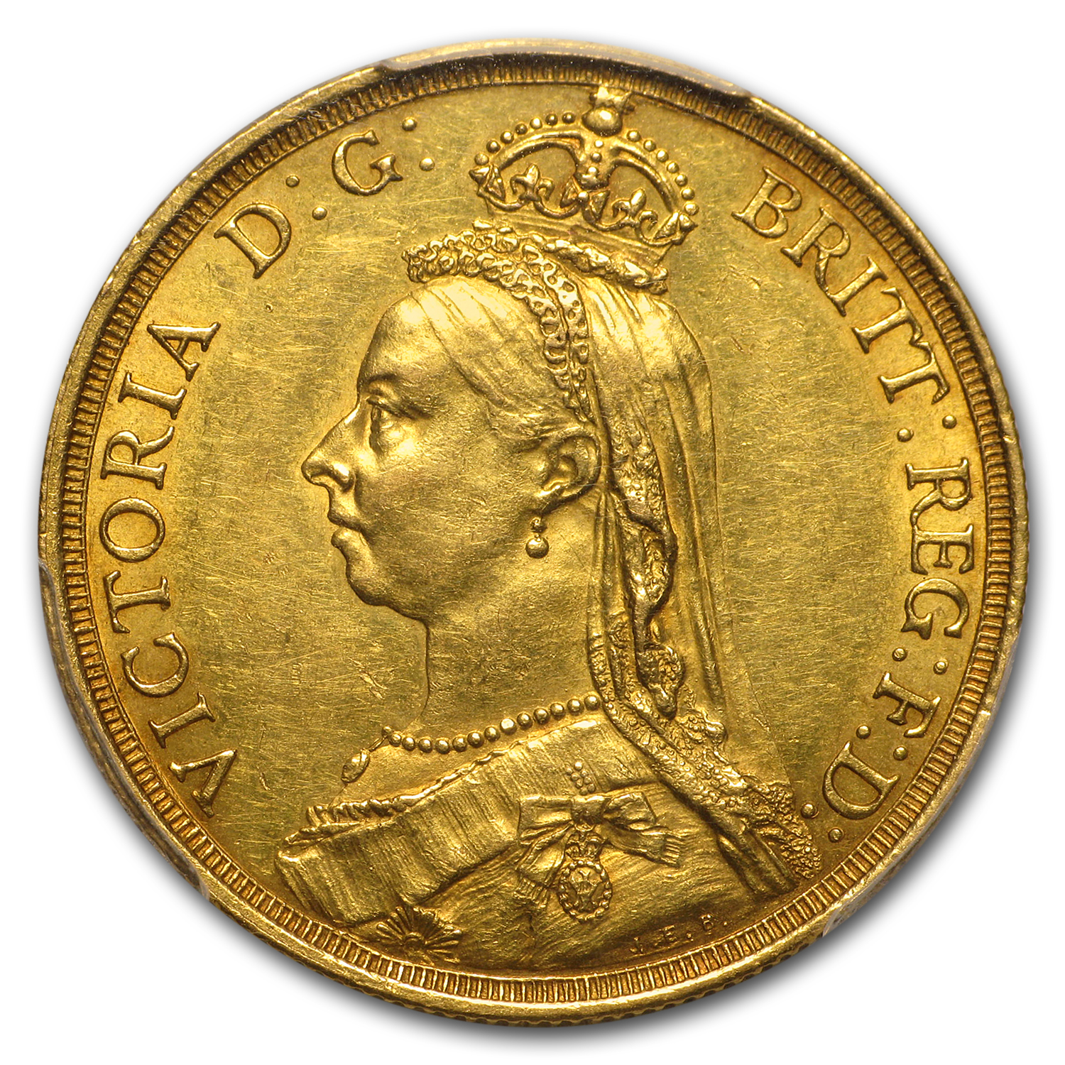 1887 Great Britain Gold 2 Pounds Victoria AU-55 PCGS