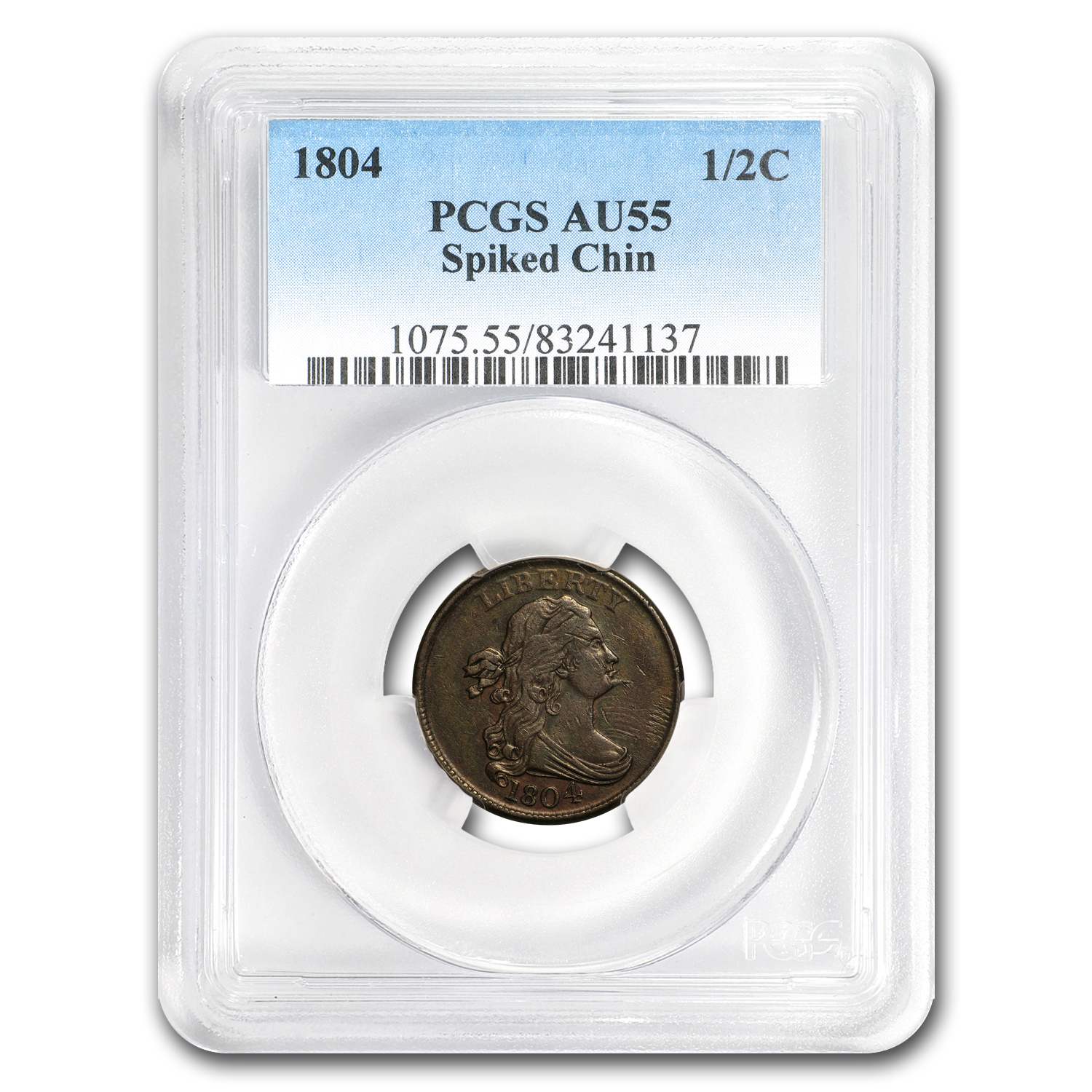 1804 Half Cent AU-55 PCGS (Spiked Chin)