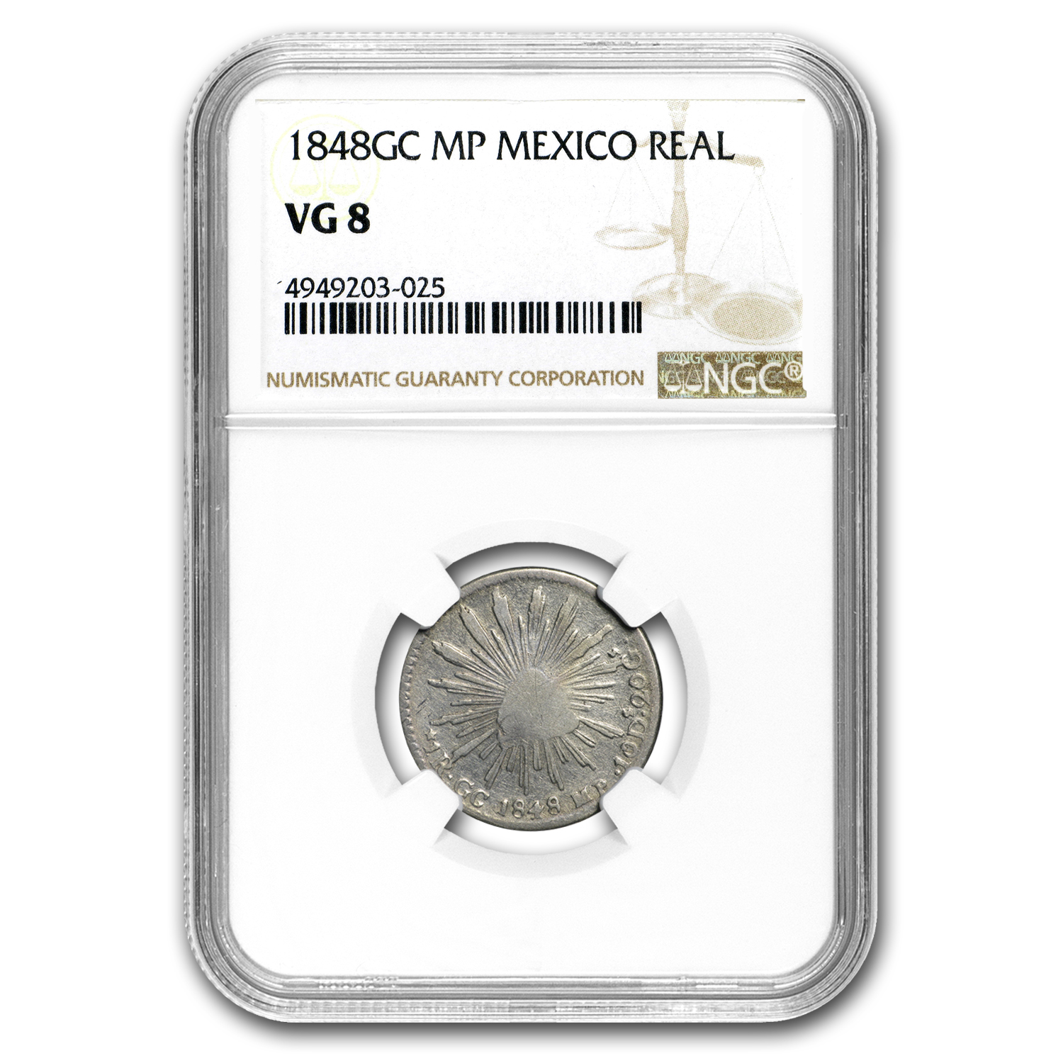 1848 GC-MP Mexico Silver Real Cap & Rays VG-8 NGC
