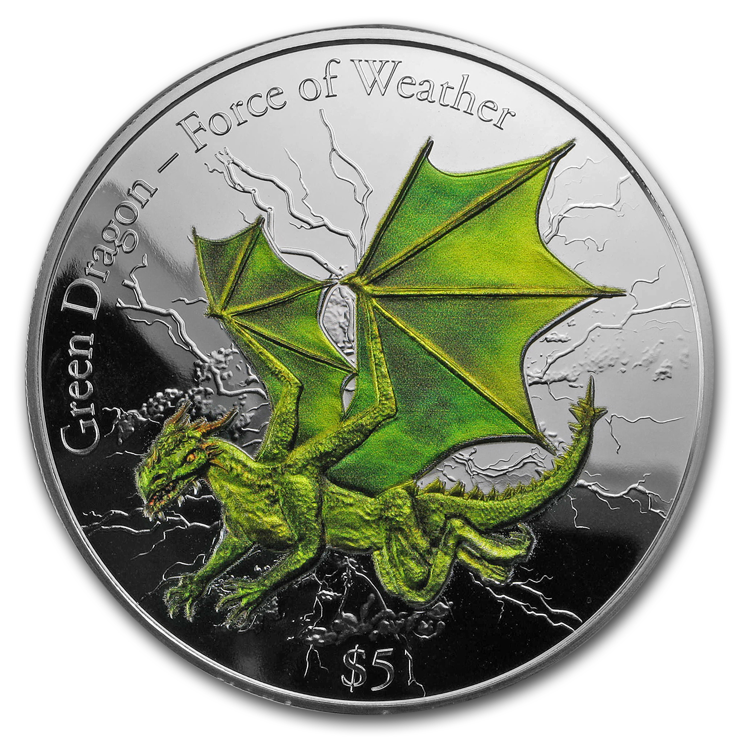 2017 Fiji 3 oz Silver 3D-HR Force of Weather: Green Dragon