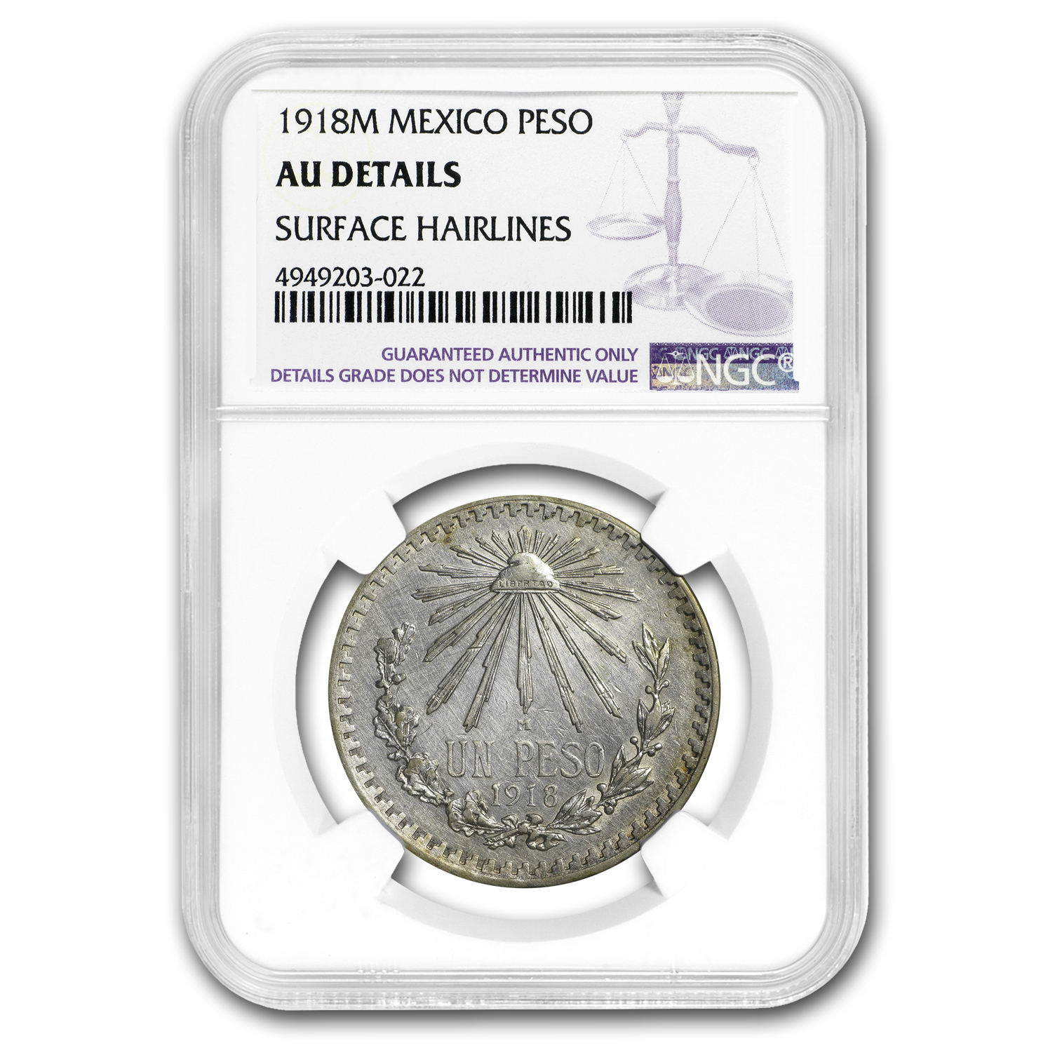 1918 M Mexico Silver Peso AU Details NGC (Cleaned)