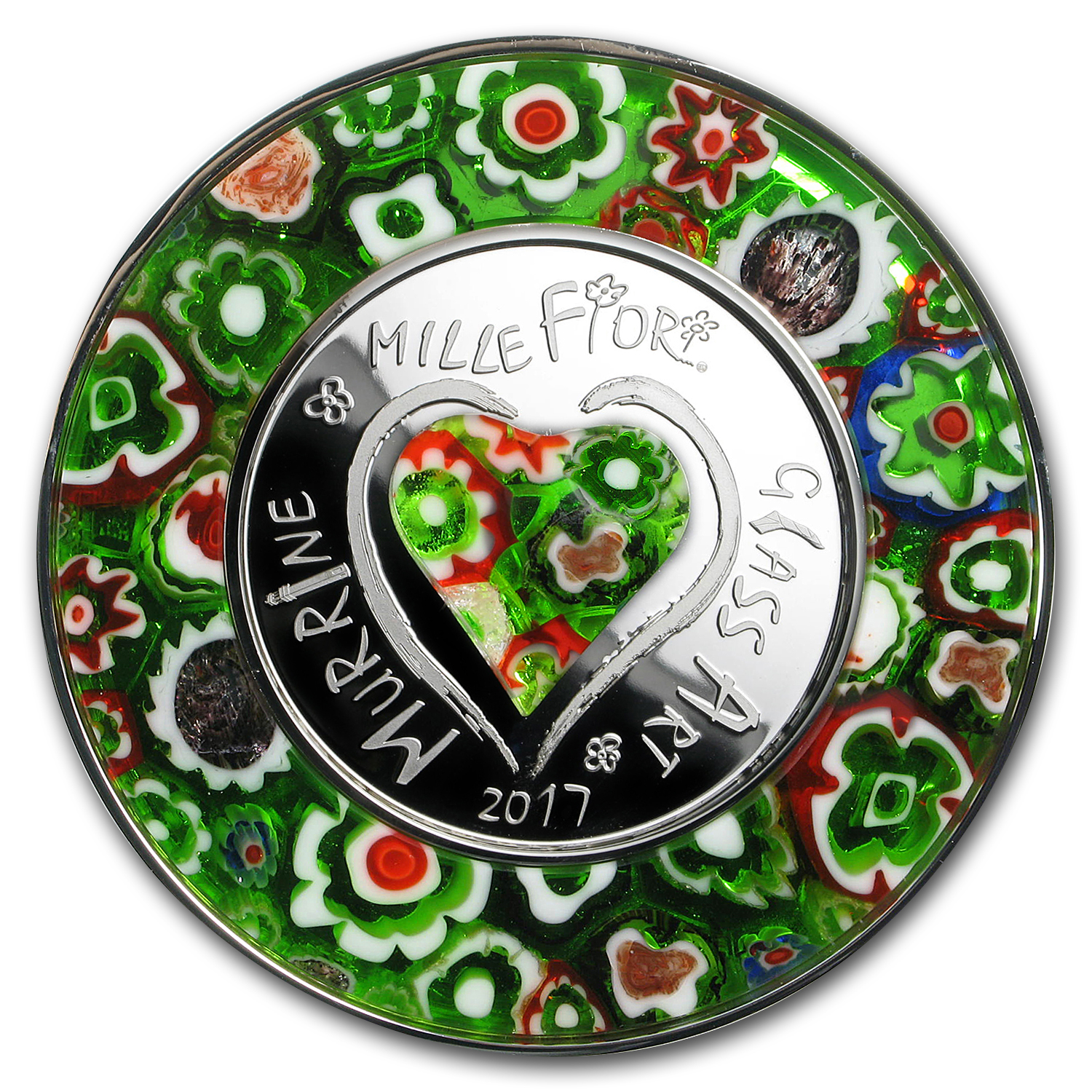 2017 Cook Islands Silver Murrine Millefiori Glass Art