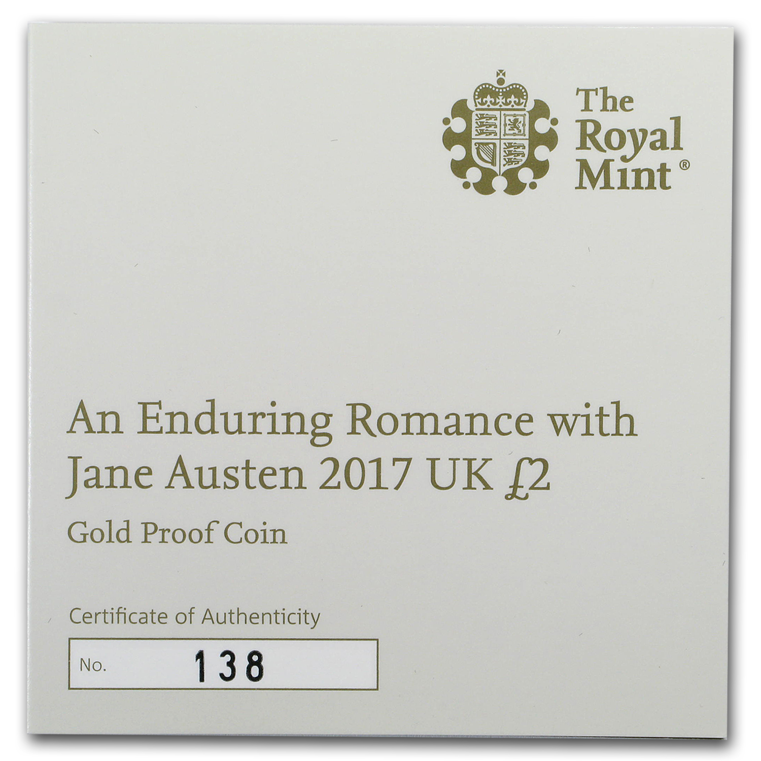 2017 Great Britain £2 Prf Gold Jane Austen