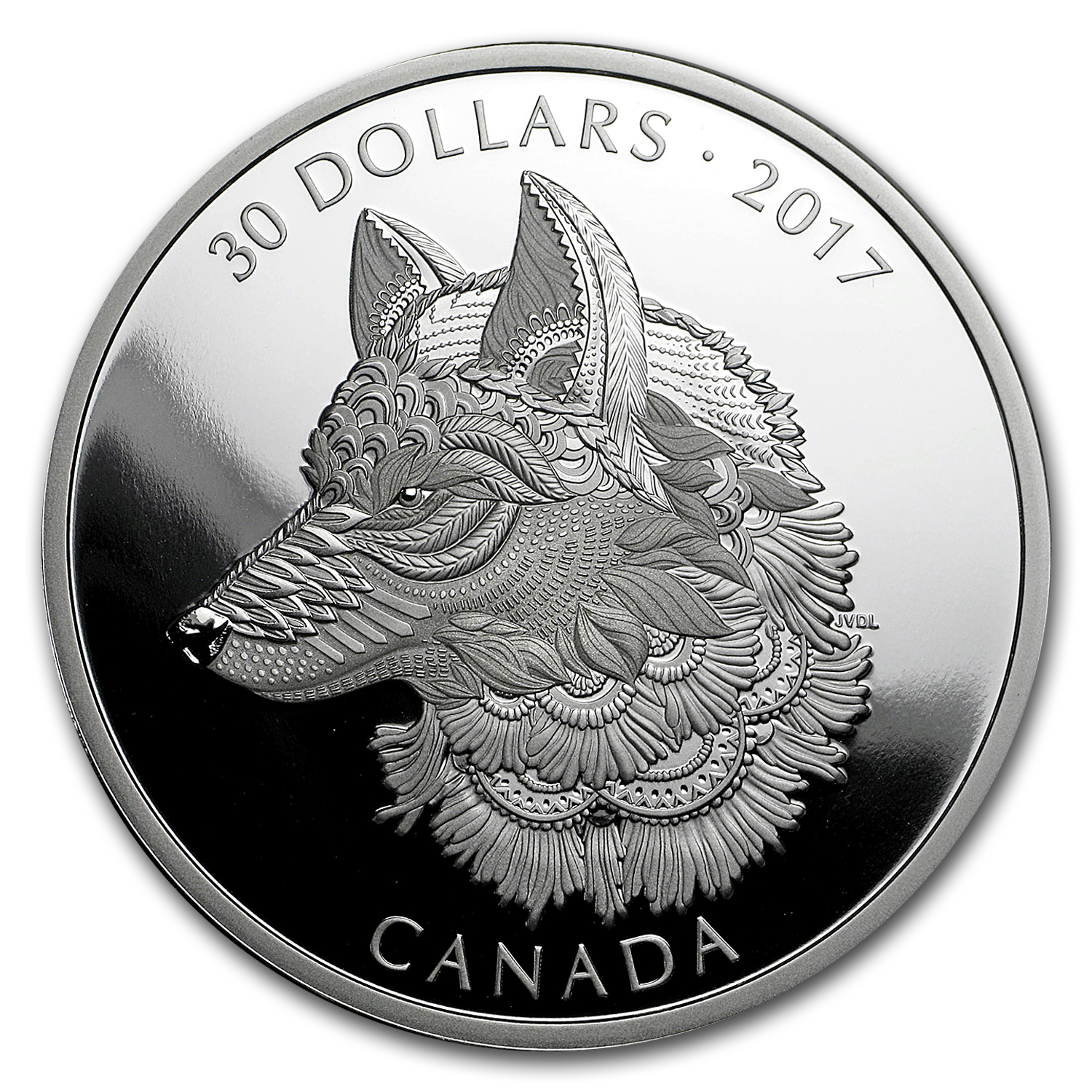 2017 Canada $30 Silver Zentangle Art: The Great Grey Wolf