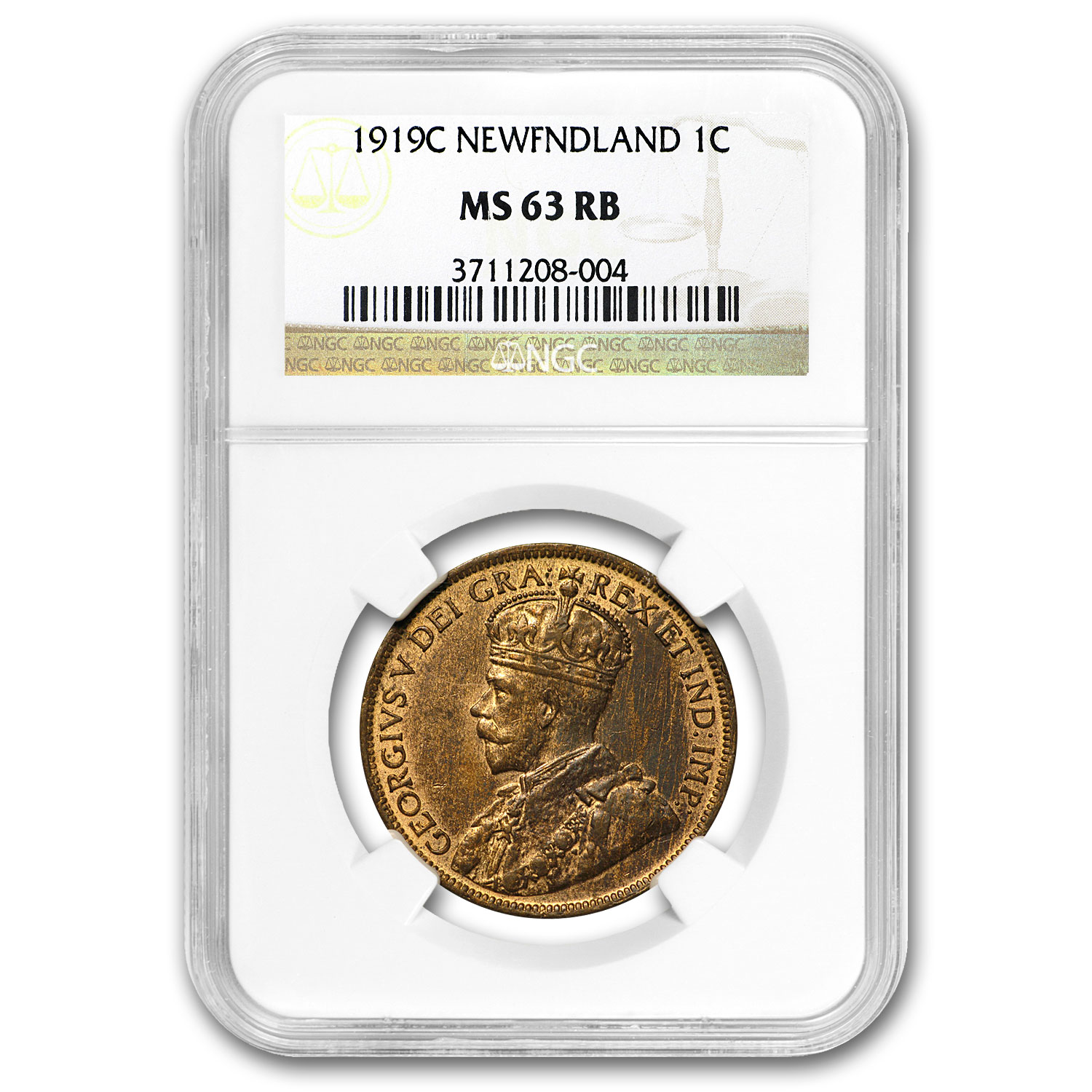 1919-C Newfoundland Large Cent MS-63 RB NGC