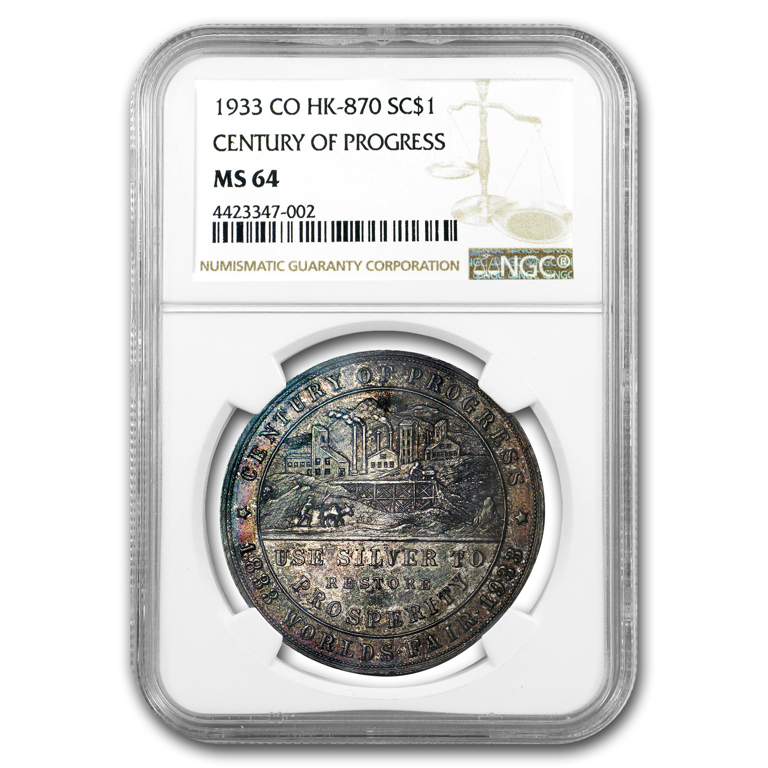 1933 Colorado Century of Progress Silver Dollar HK-870 MS-64 NGC