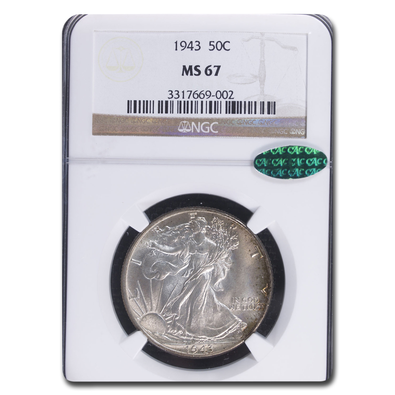 1943 Walking Liberty Half Dollar MS-67 NGC CAC