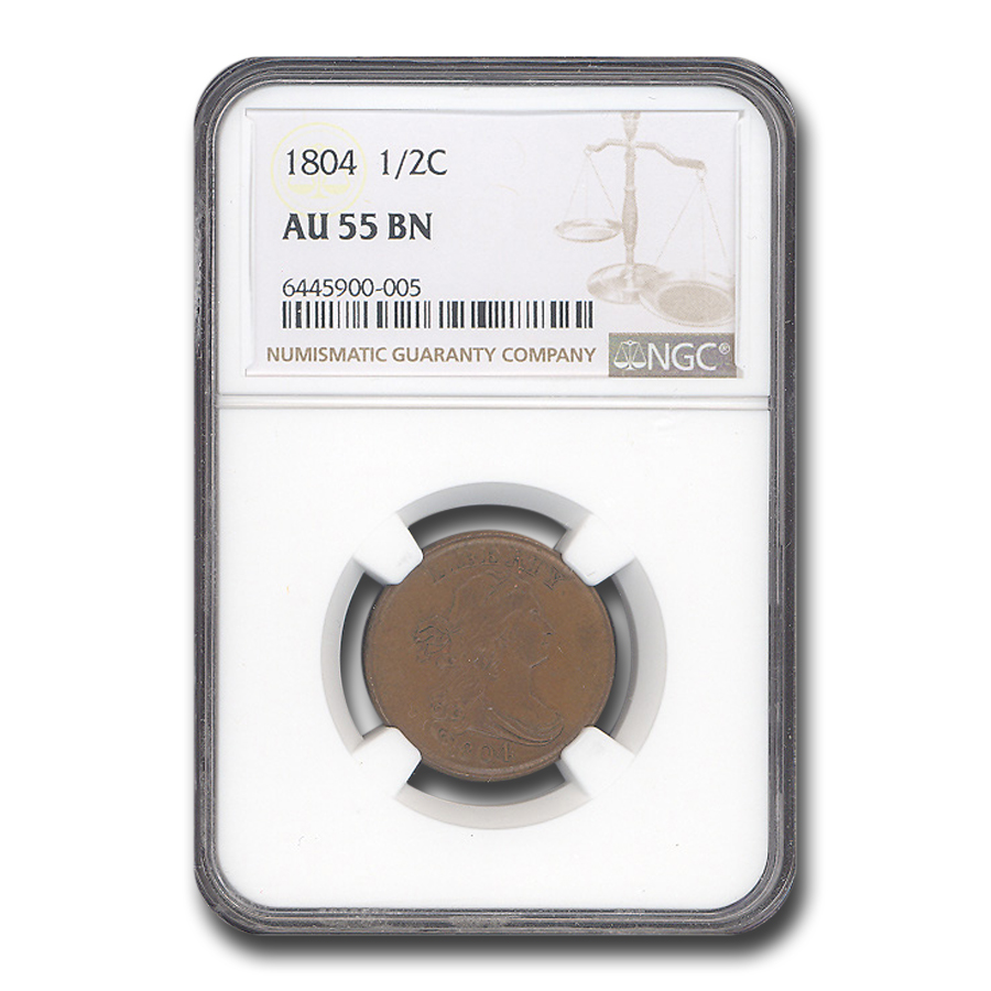 1804 Half Cent Plain 4 No Stems AU-55 NGC