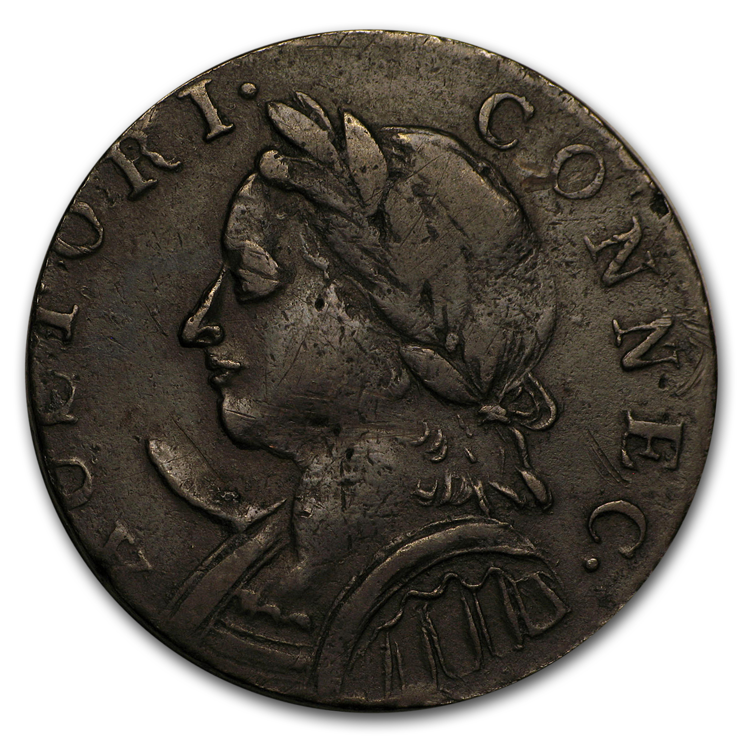 1787 Connecticut Copper Horned Bust Facing Left XF