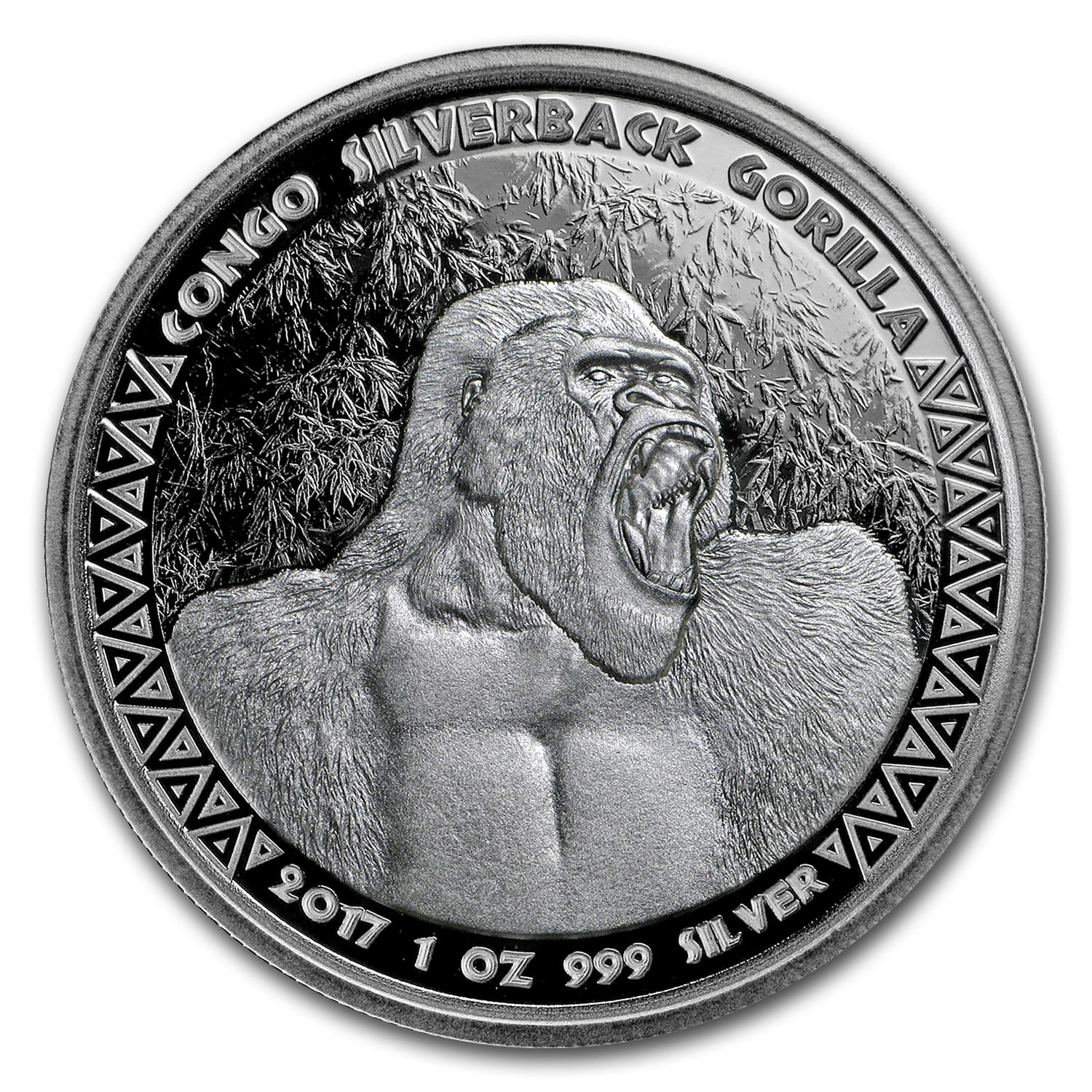2017 Republic of Congo Silver 1 oz Silverback Gorilla (Prooflike)