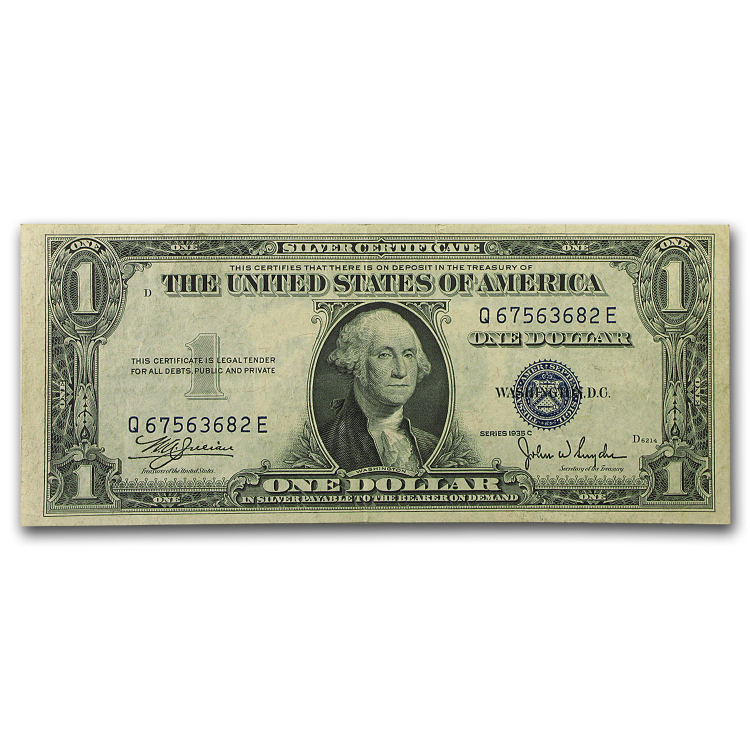 1935-C $1.00 Silver Certificate    Almost Uncirculated