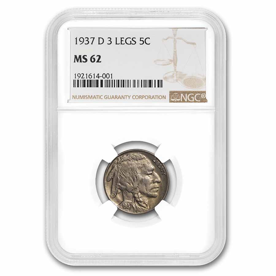 1937-D 3 Legged Buffalo Nickel MS-62 NGC
