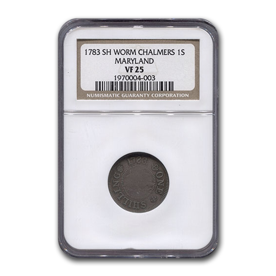 1783 Maryland Short Worm Chalmers Island Colonial VF-25 NGC