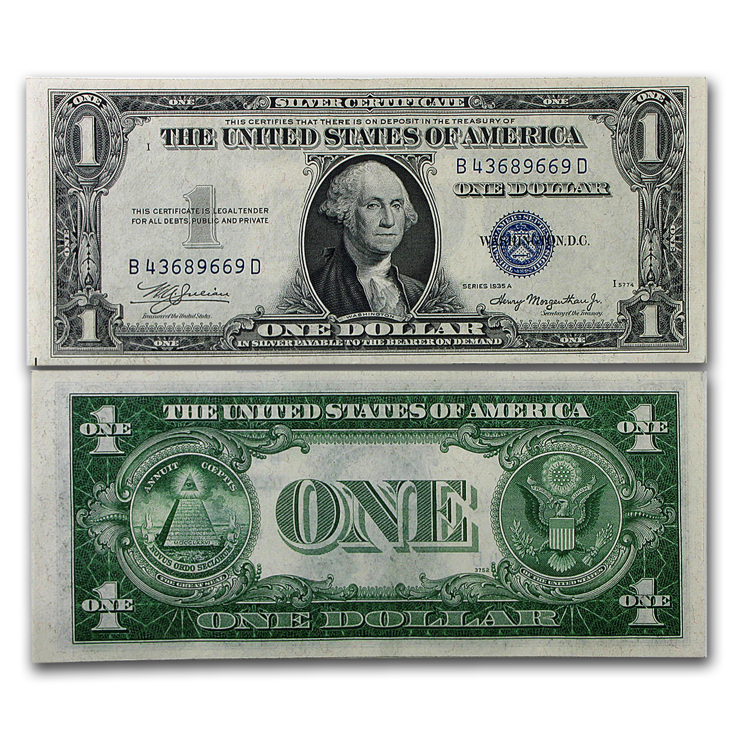1935-E $1.00 Silver Certificate Almost Uncirculated