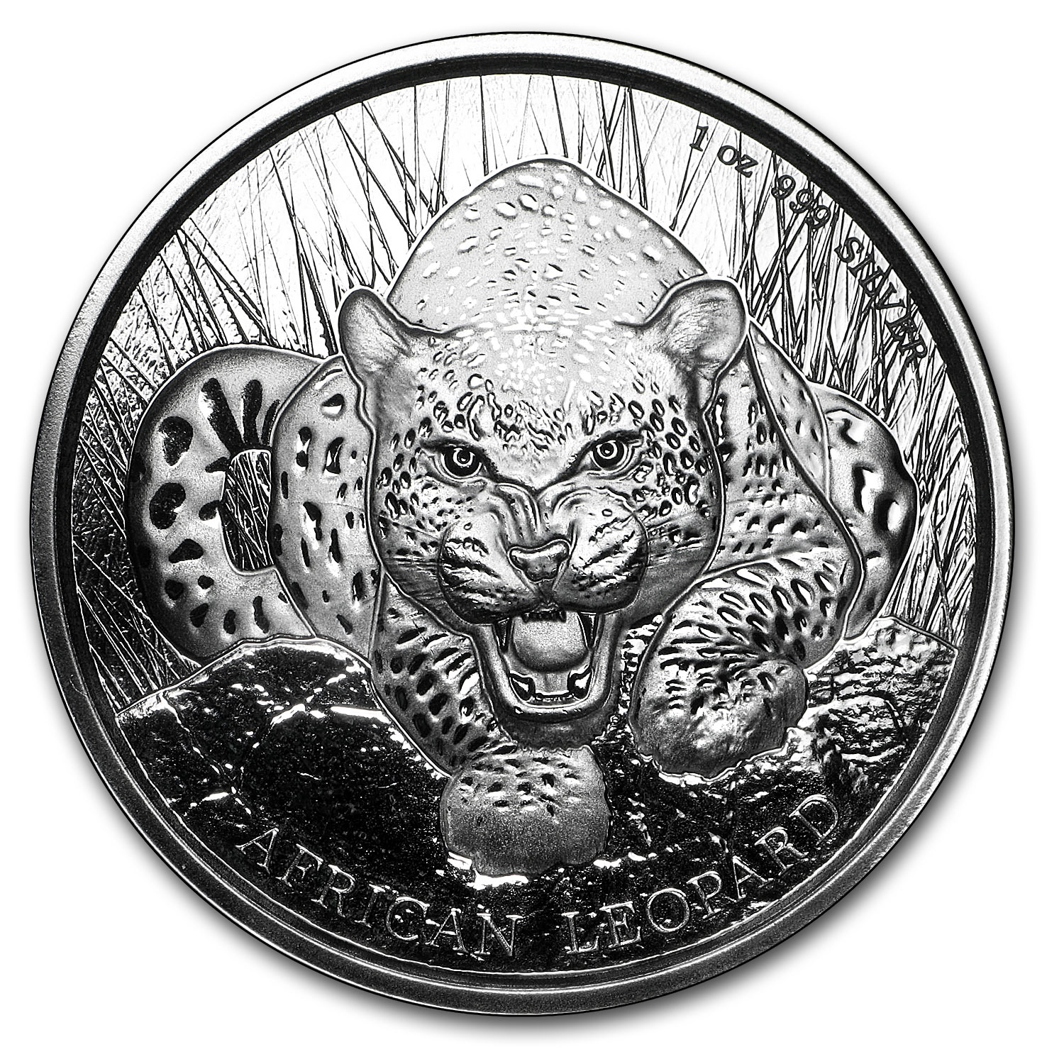 2017 Republic of Ghana 1 oz Silver African Leopard BU