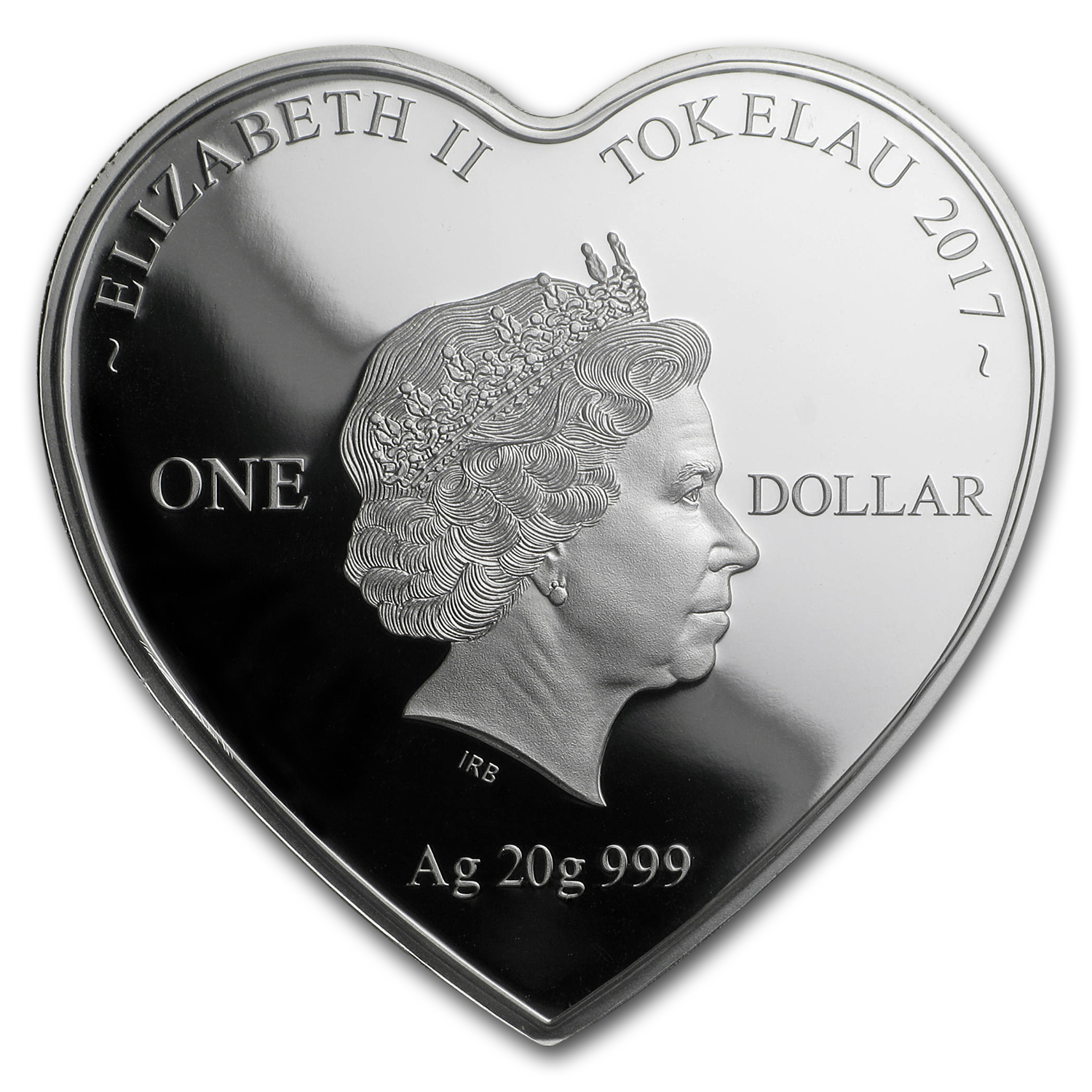 2017 Tokelau Proof Silver Together Forever Heart-Shaped Coin