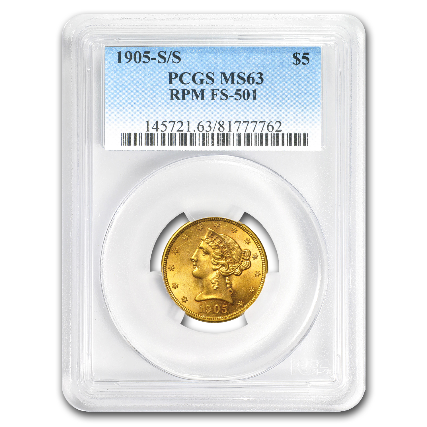 1905-S S/S $5 Liberty Gold Half Eagle MS-63 PCGS (FS-501 RPM)