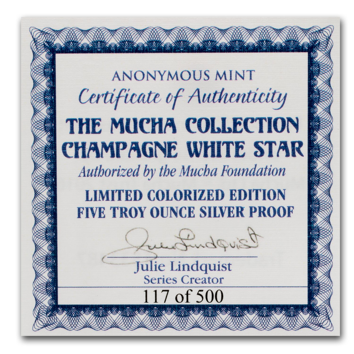 5 oz Silver Colorized Proof Mucha Collection Champagne White Star